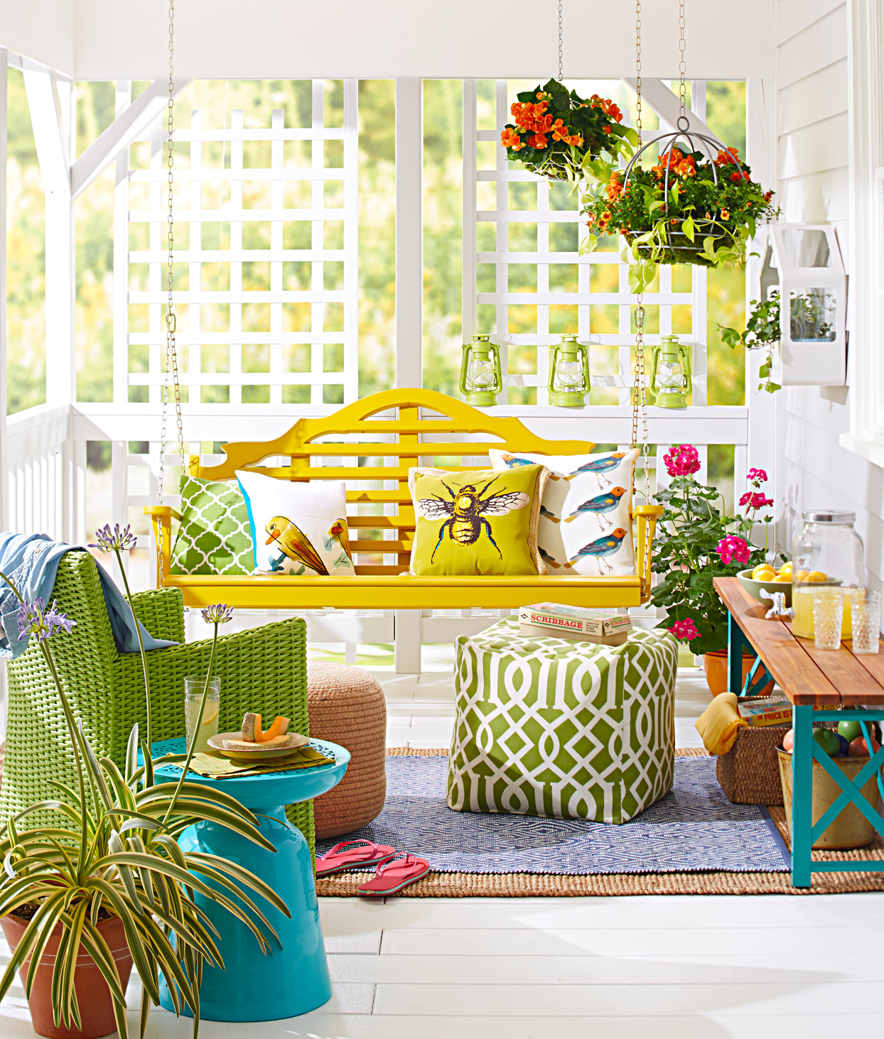 porch yellow swing bold patterns colors decor
