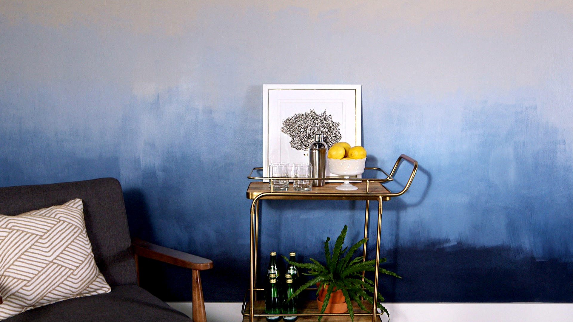 Blue and white ombre painted wall
