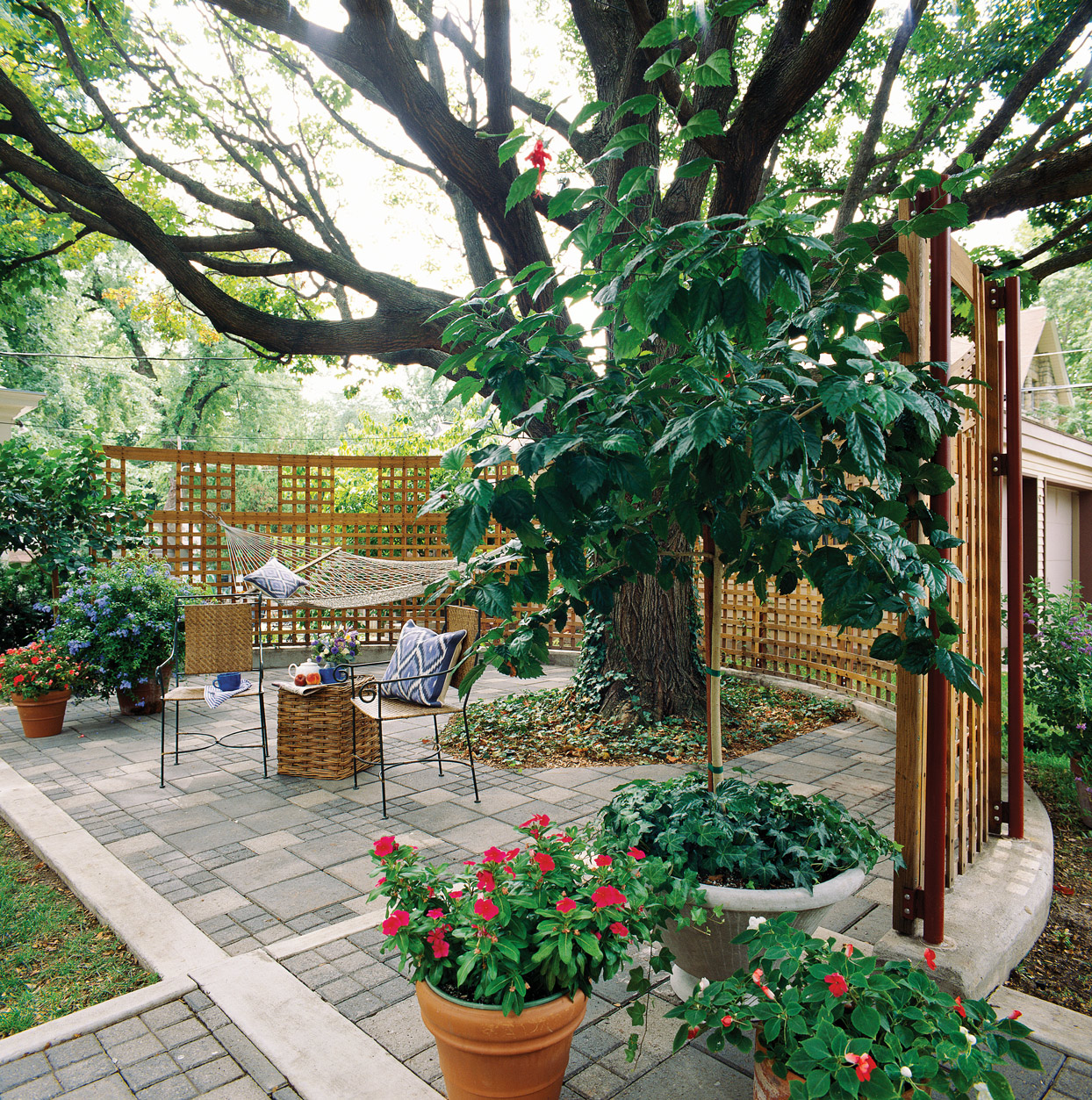 white wrap around trellis outdoor garden