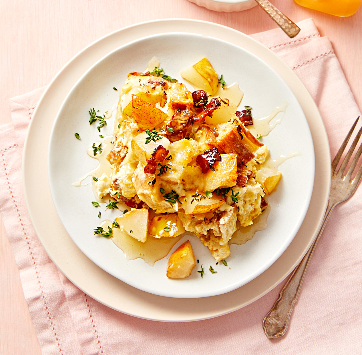 Pear-bacon strata on white plate