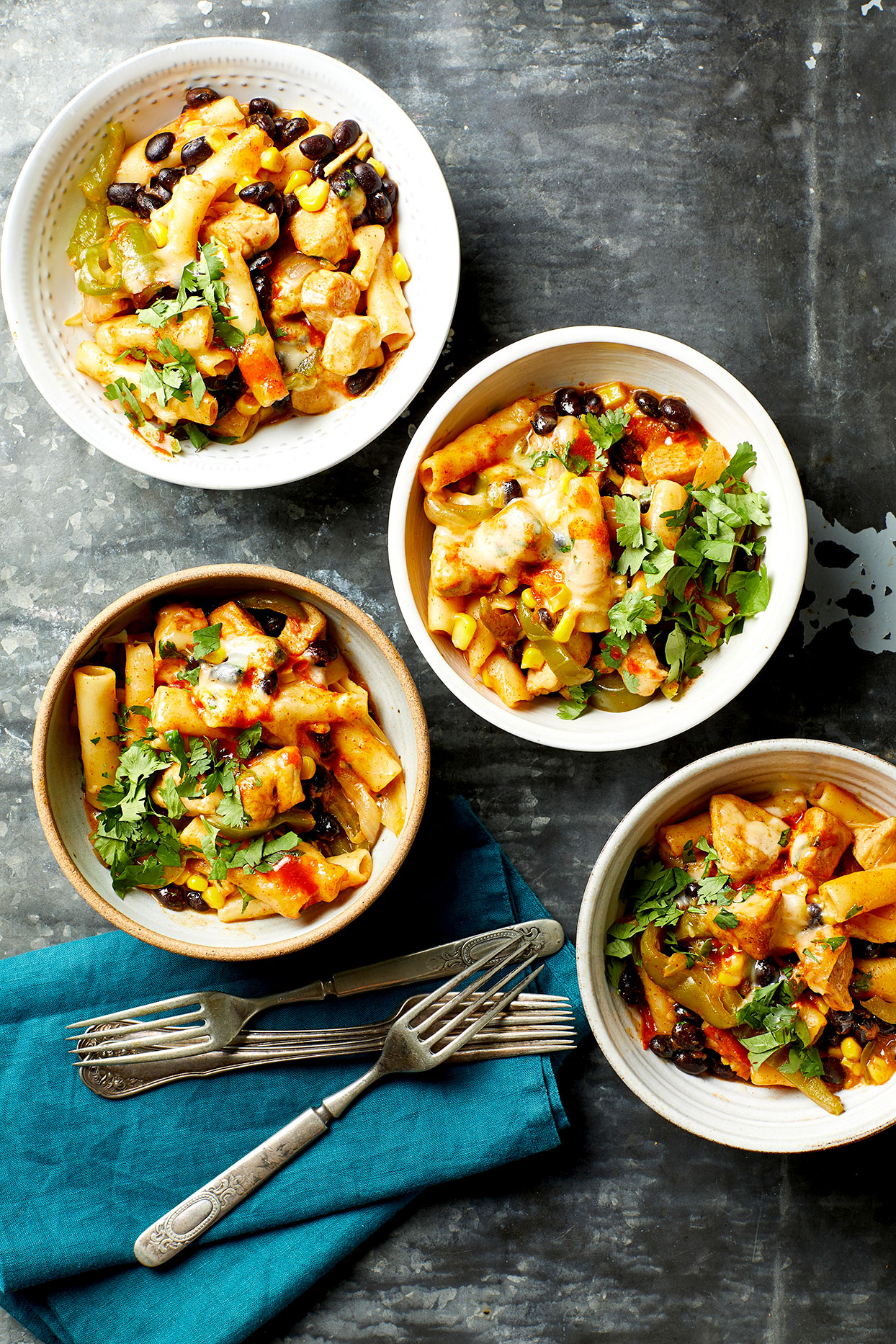 Mexican Chicken Pasta in bowls