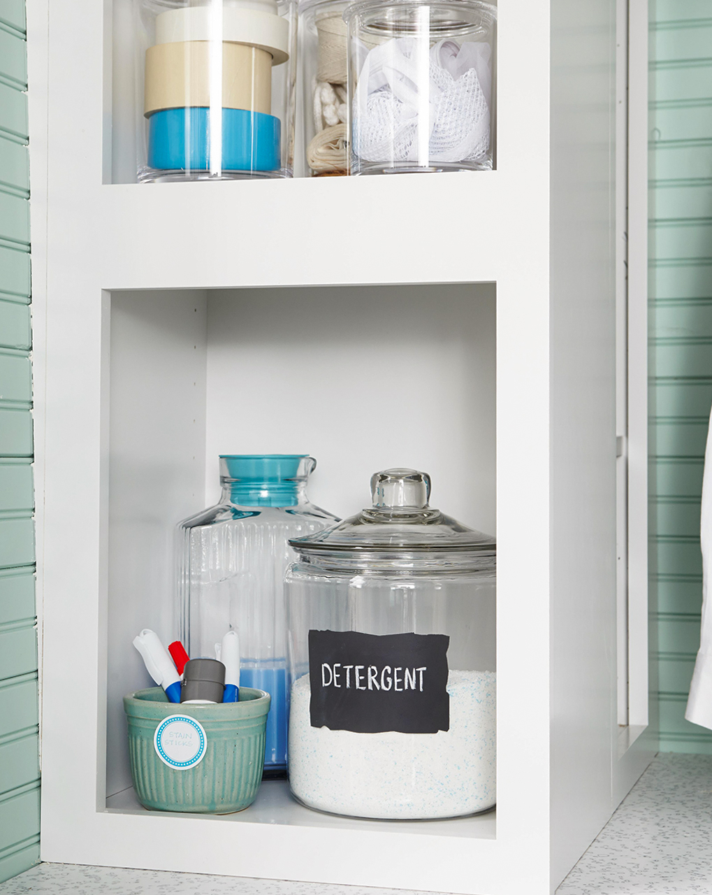 laundry room pantry detergent in jars