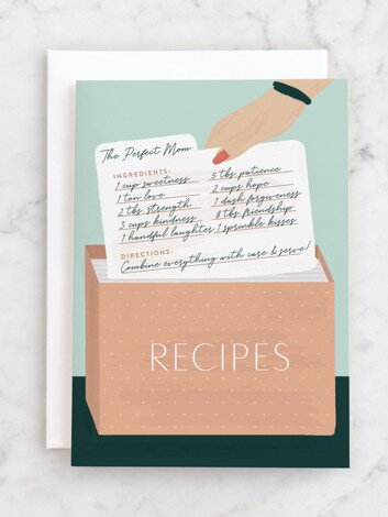 card with recipe box on the front