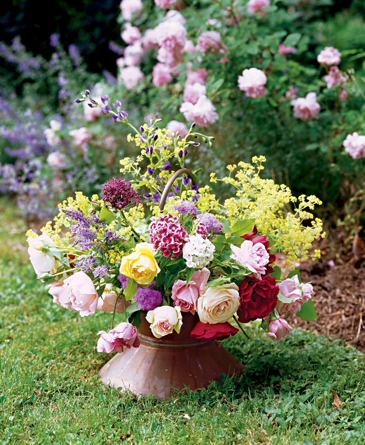 multicolor floral arrangement outside