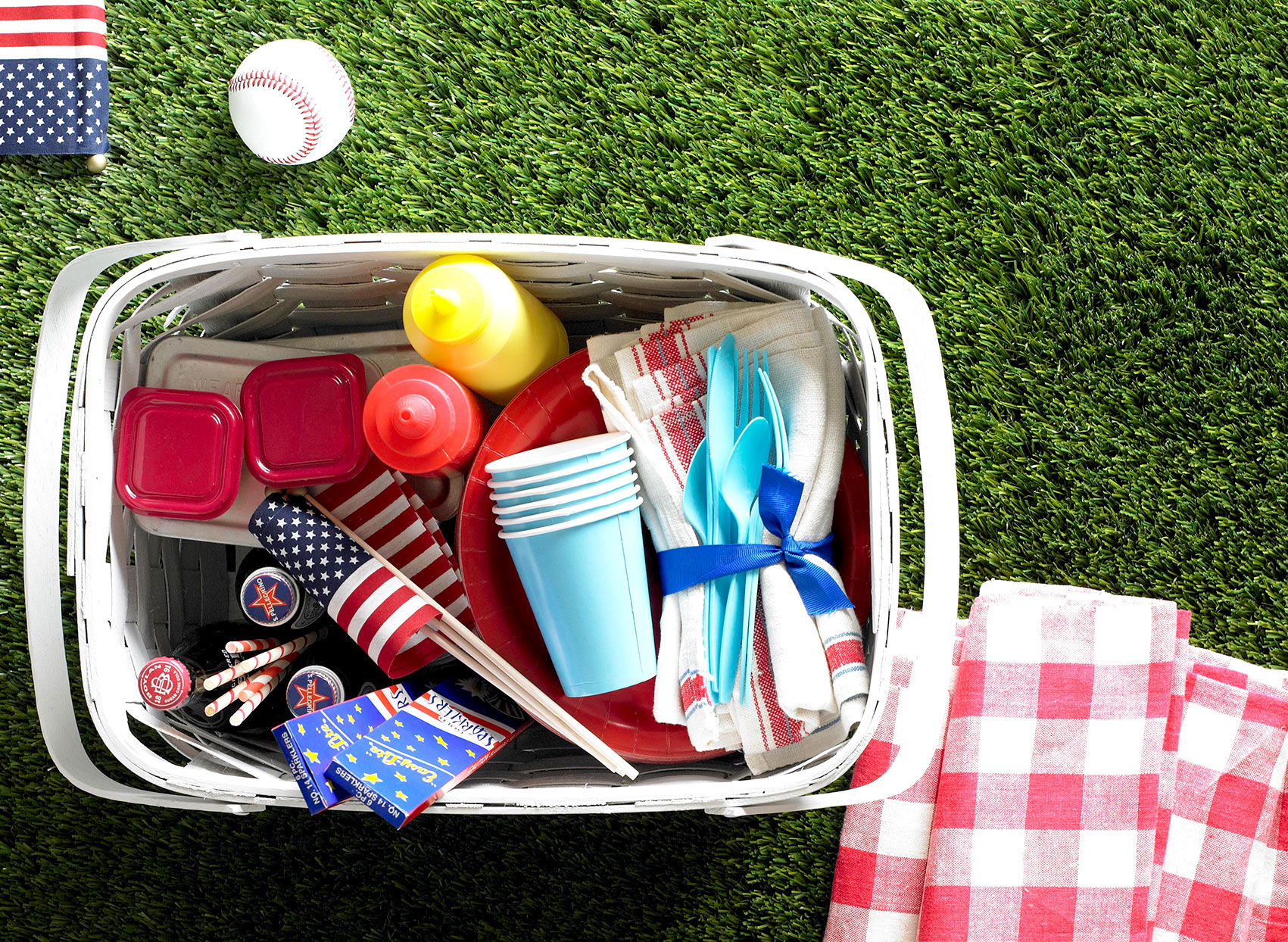 Basket filled with picnic supplies