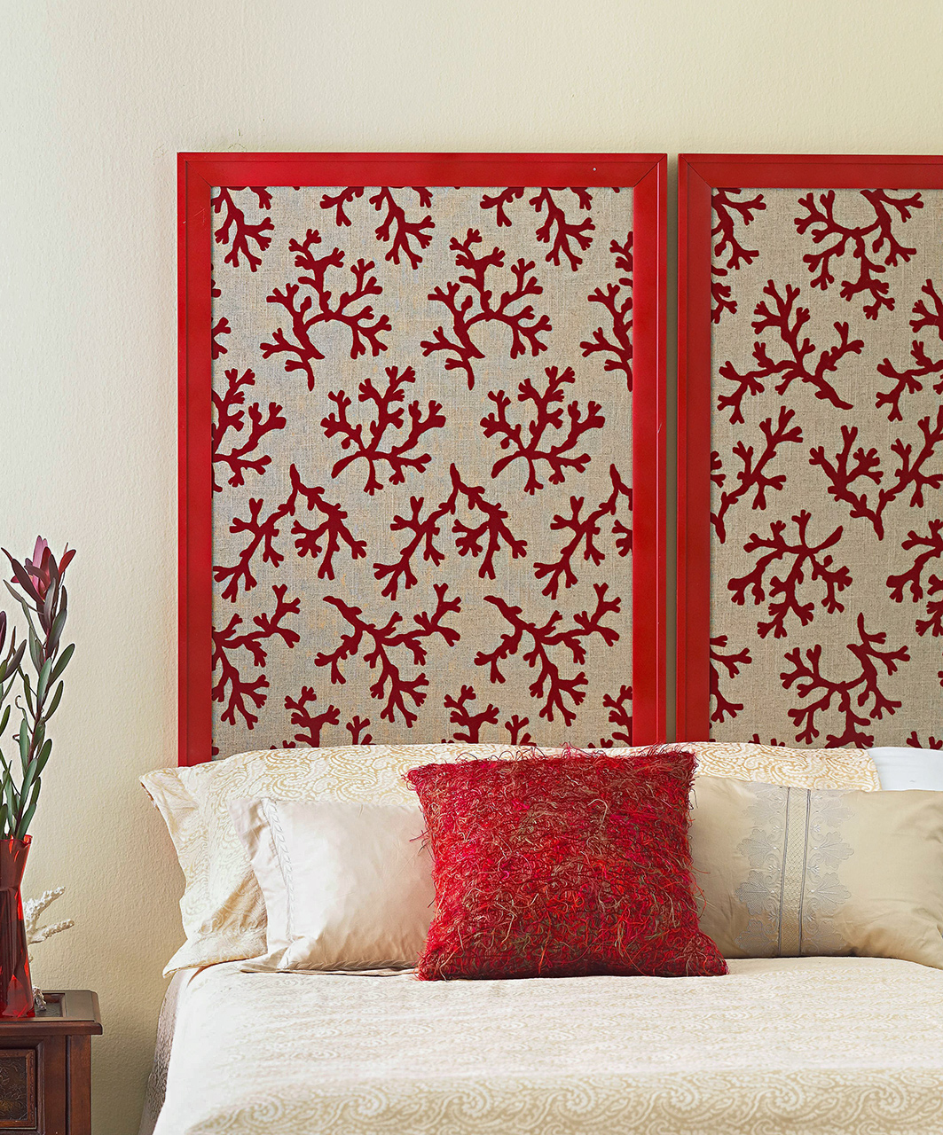 DIY Framed Fabric Headboard