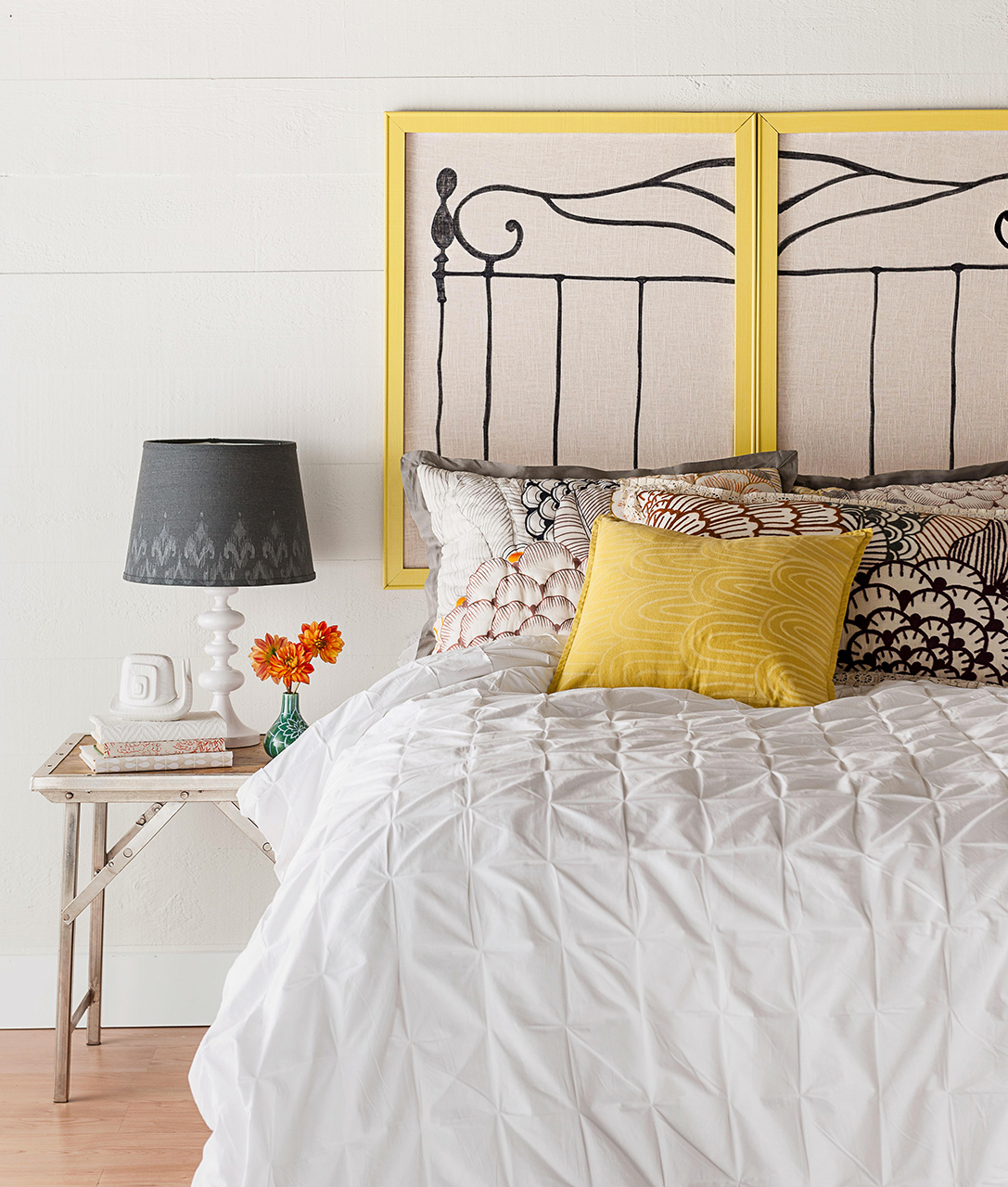 diy painted frames headboard