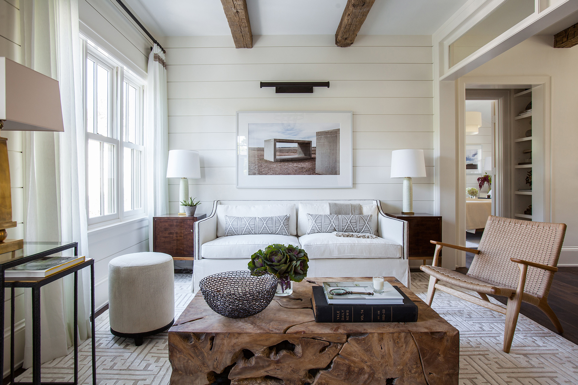 cloud white living room with wooden accents