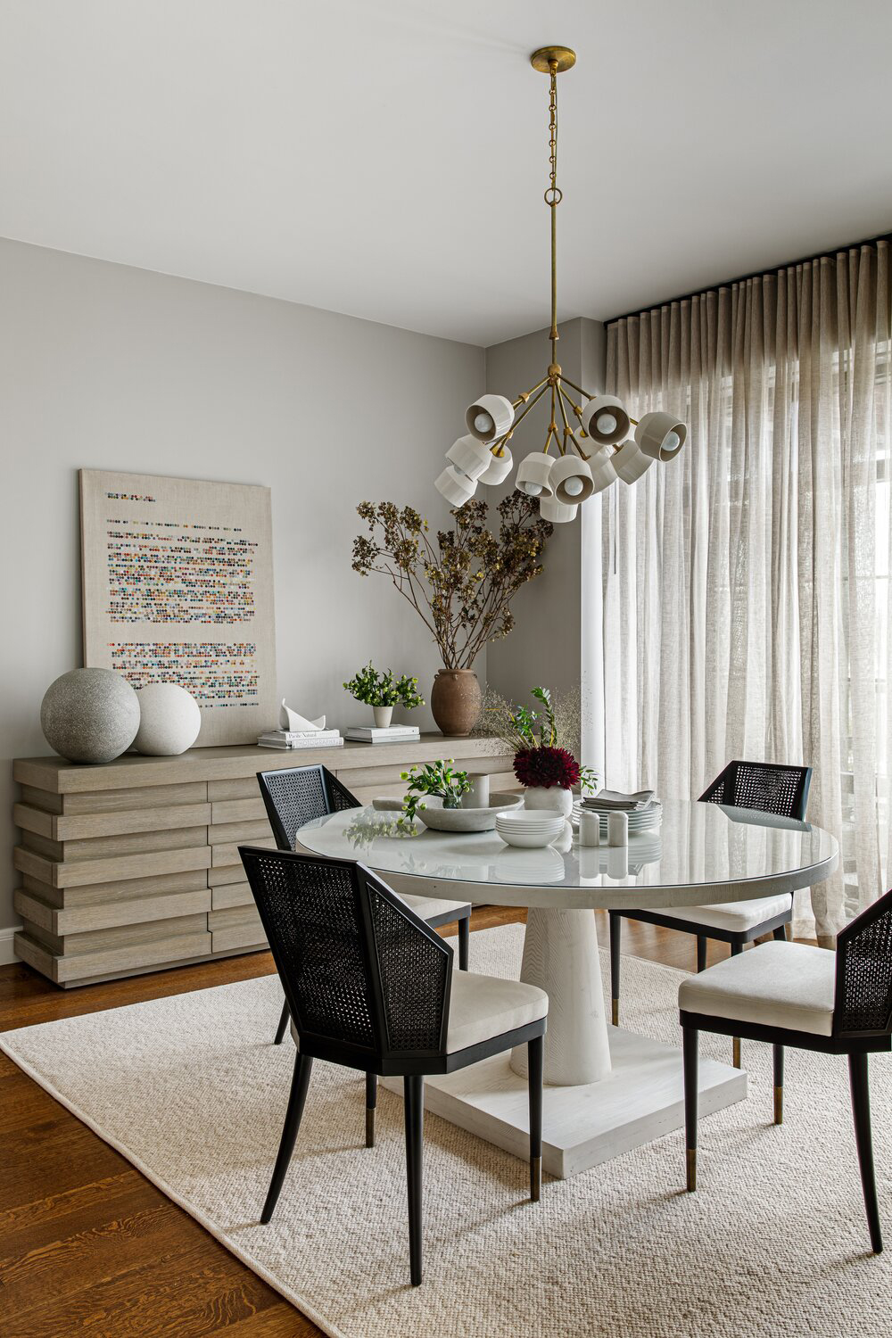 london fog modern dining room with black accents