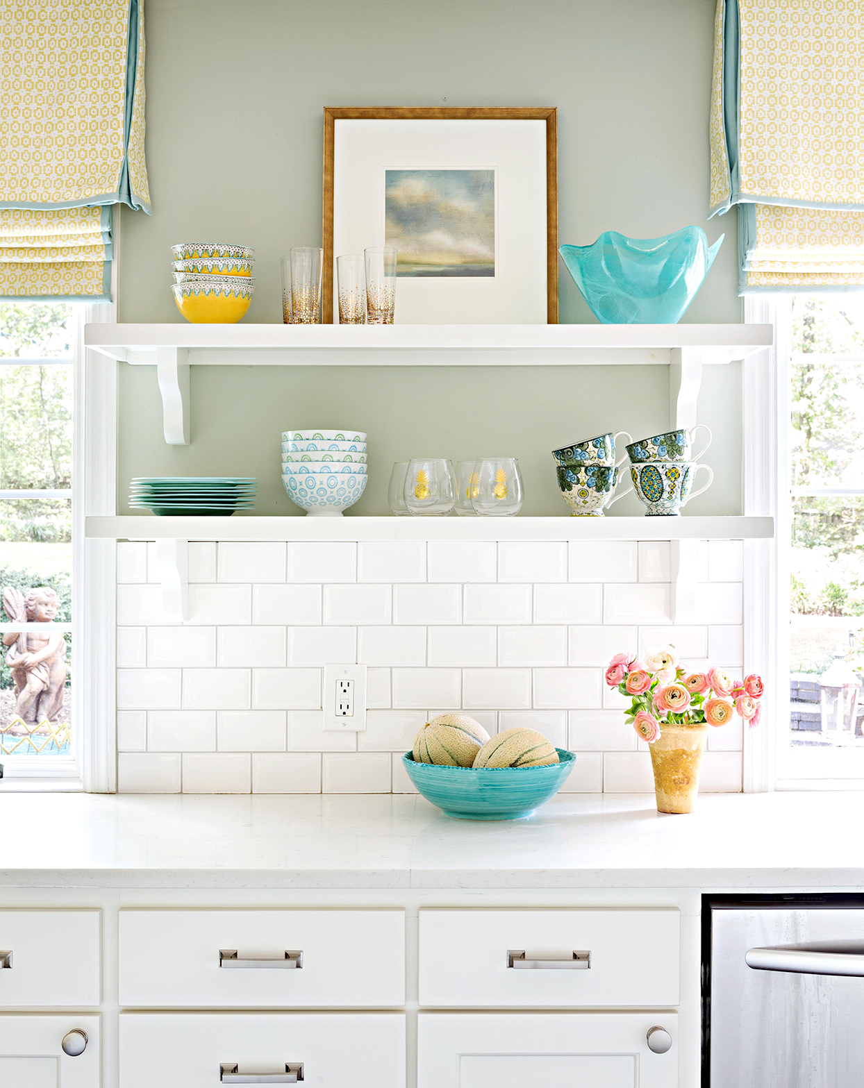 Kitchen counter with white tile