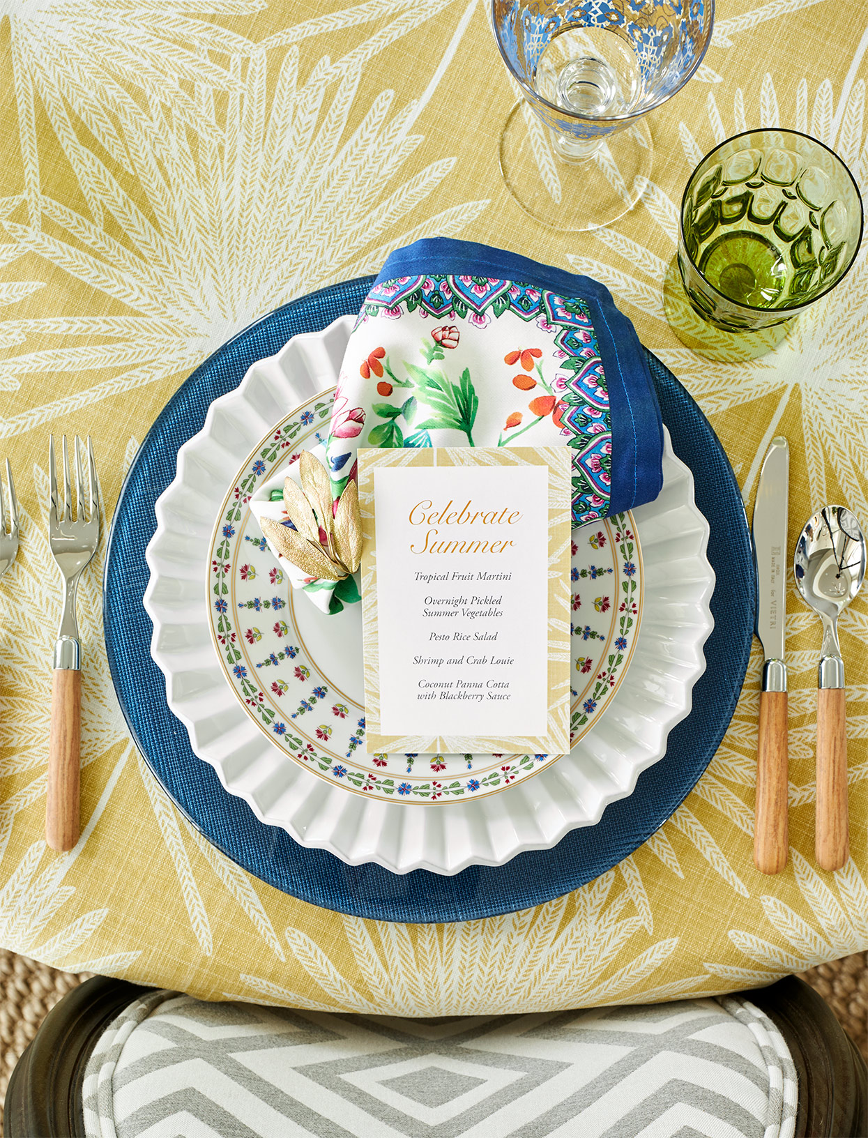 summer menu on plate for bright place setting