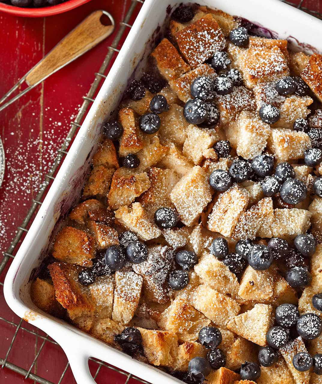 Blueberry Bread Pudding with Blueberry Sauce