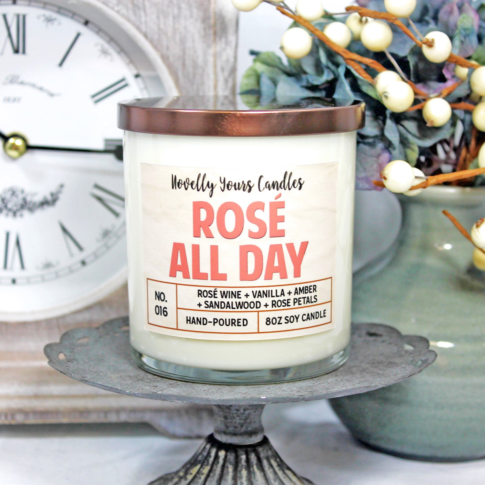 rose all day candle