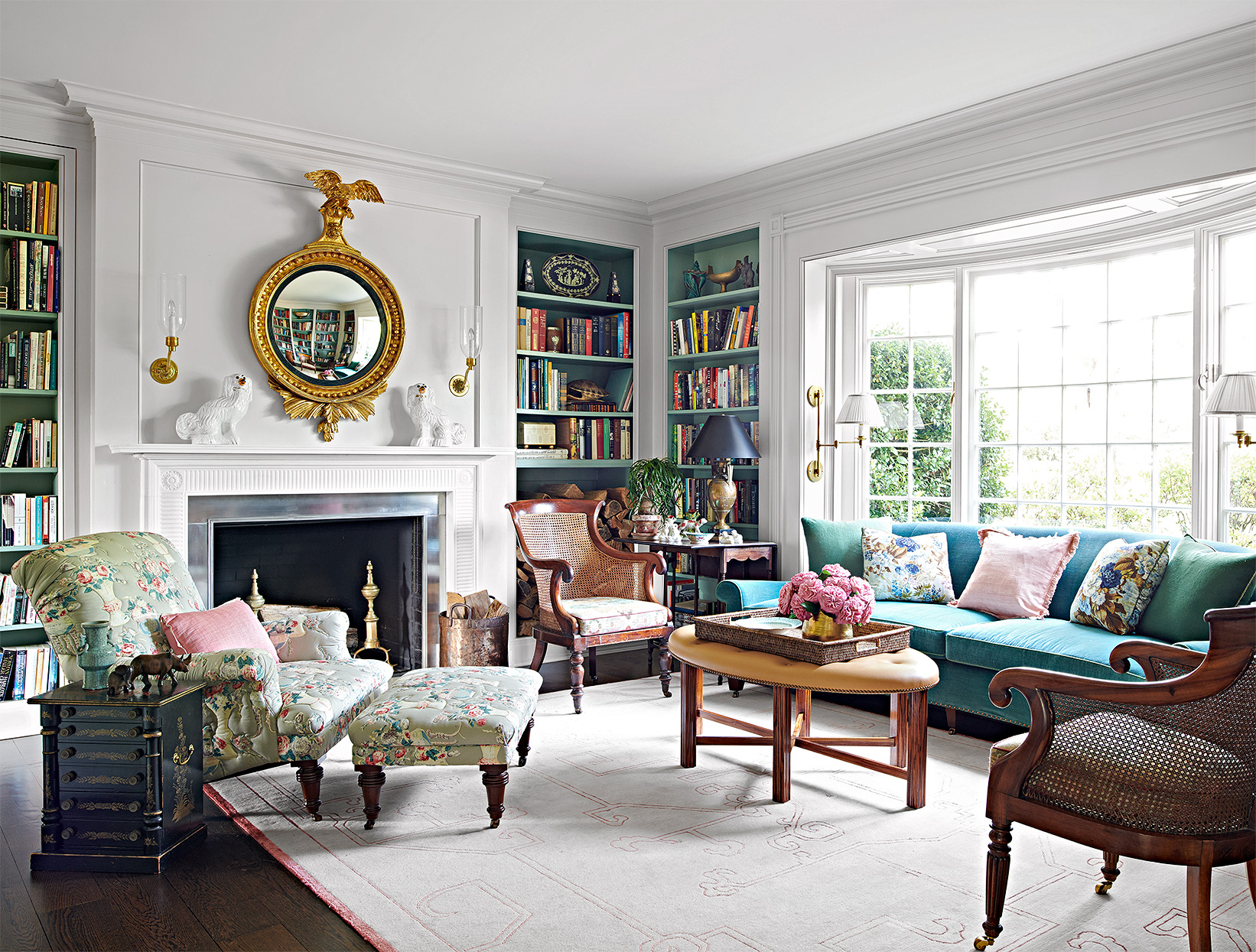 traditional library with green and gold accents