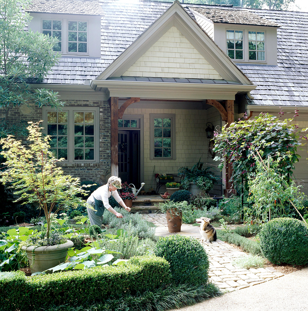 Person gardening with dog in front of house
