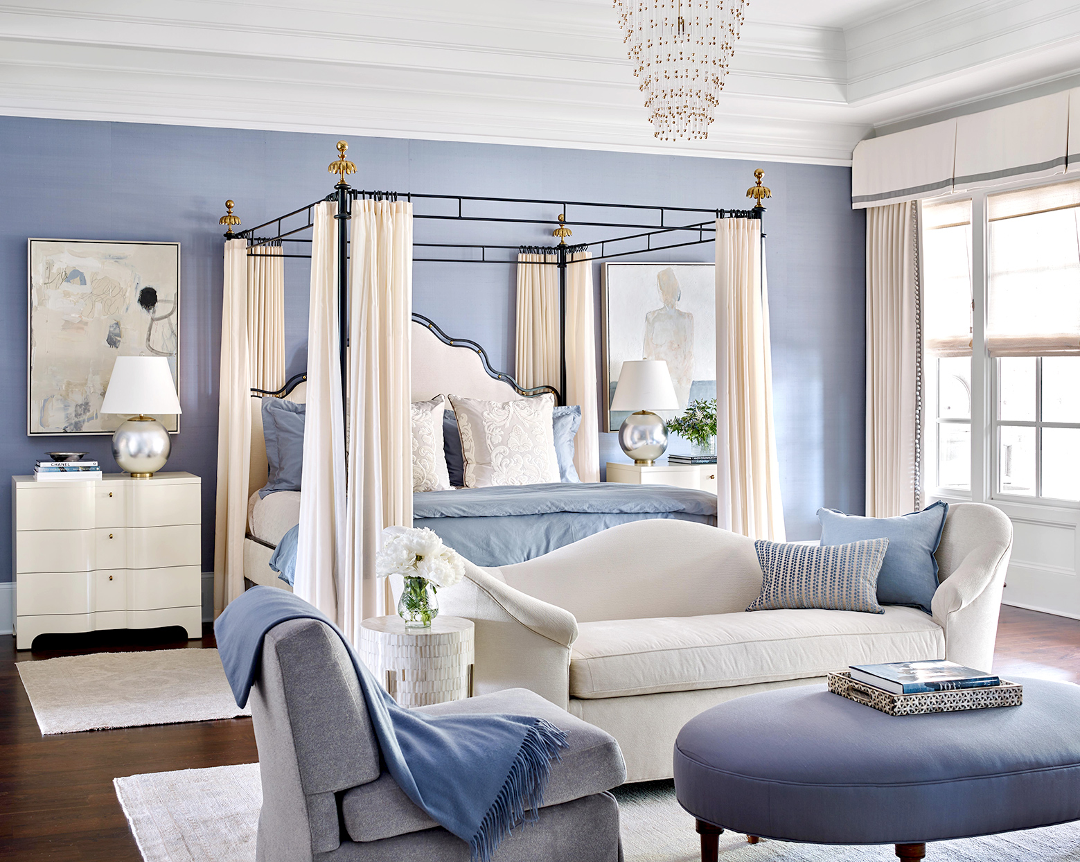 Bedroom with blue walls