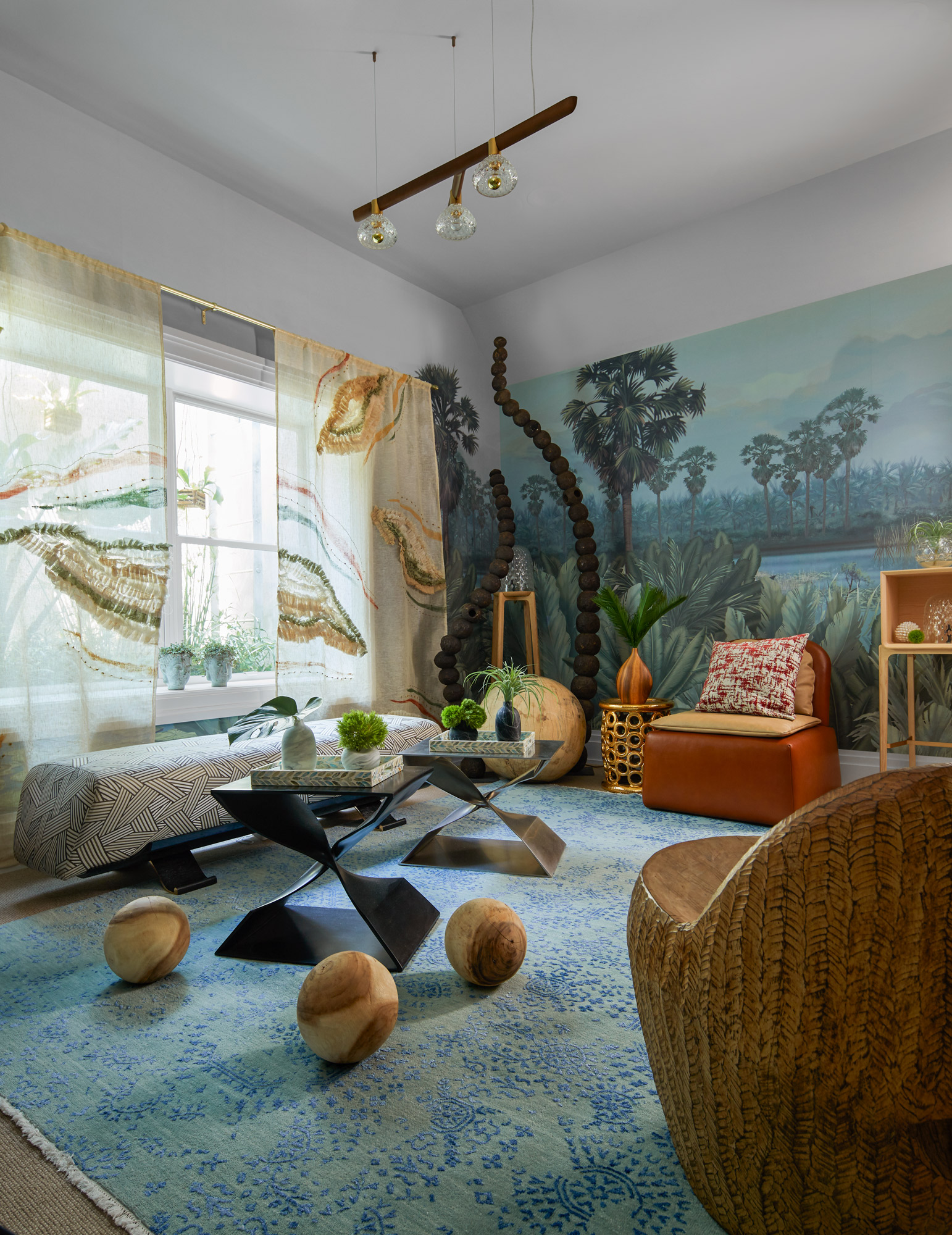 bedroom with outdoor scene wallcovering