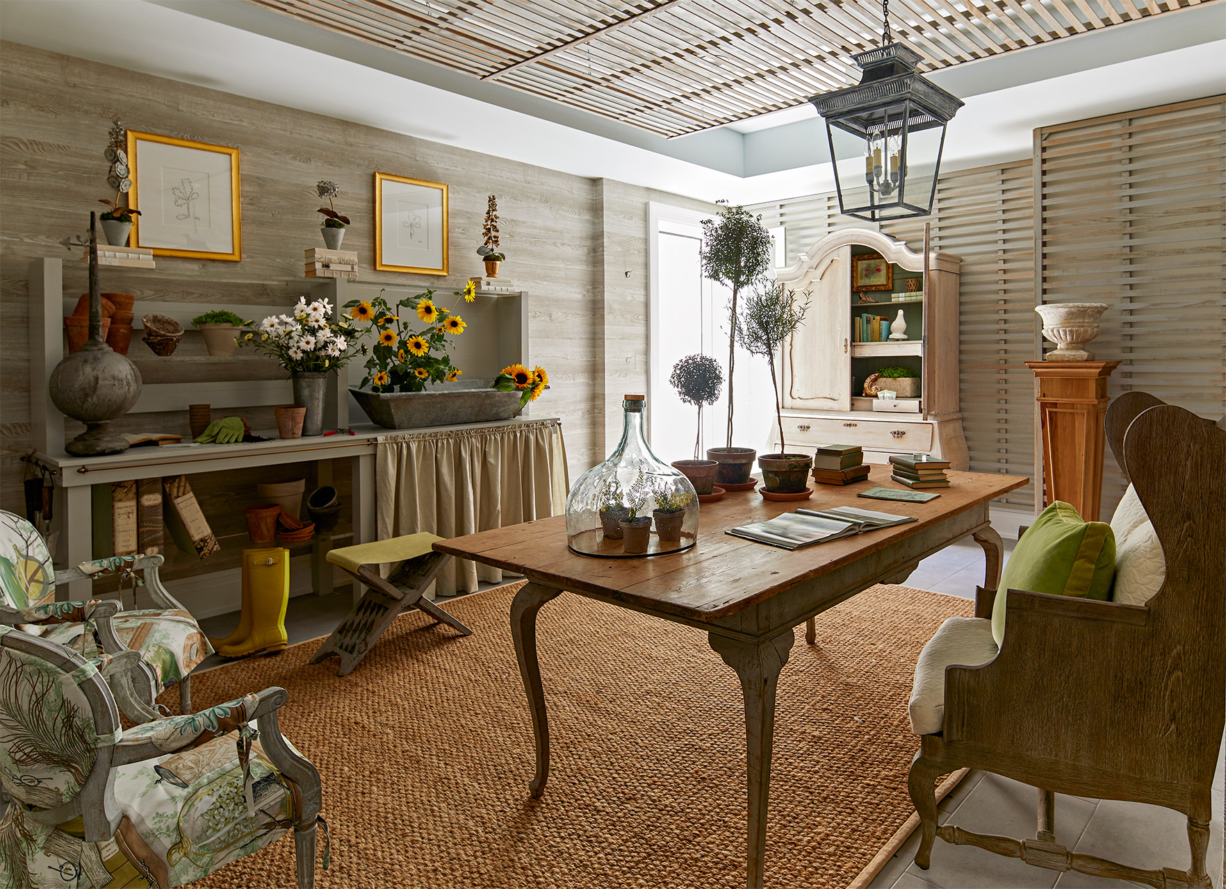 earth-toned farmhouse living room wooden table