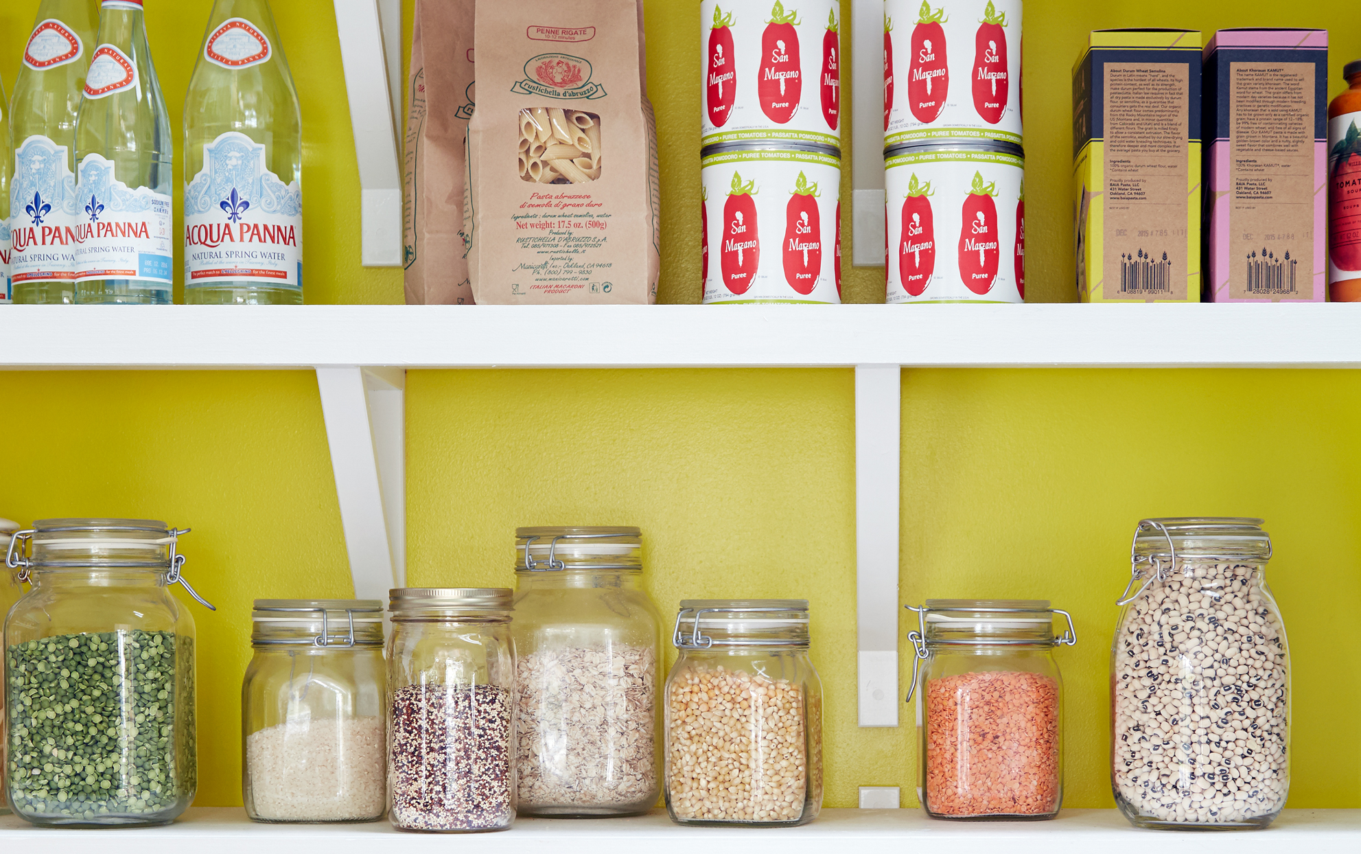 pantry items with a yellow background