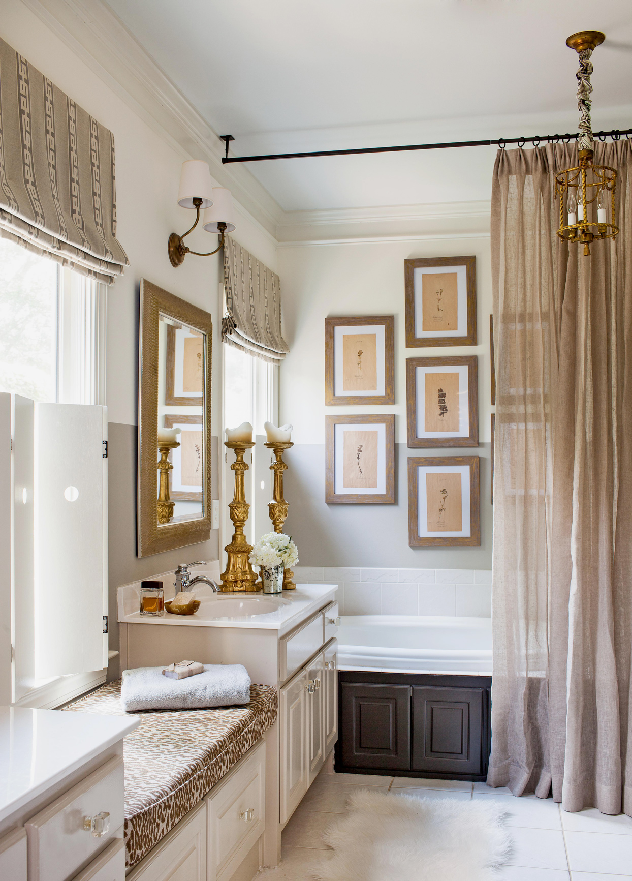bathroom with brown frames