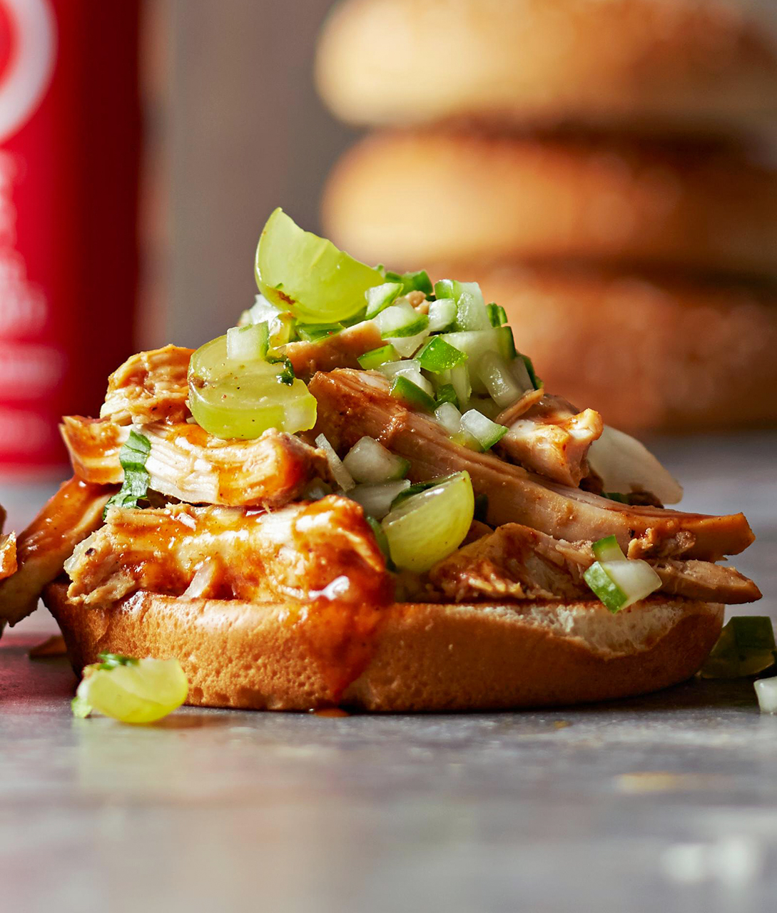 Southern Pulled Chicken Sandwiches with Green Grape Relish