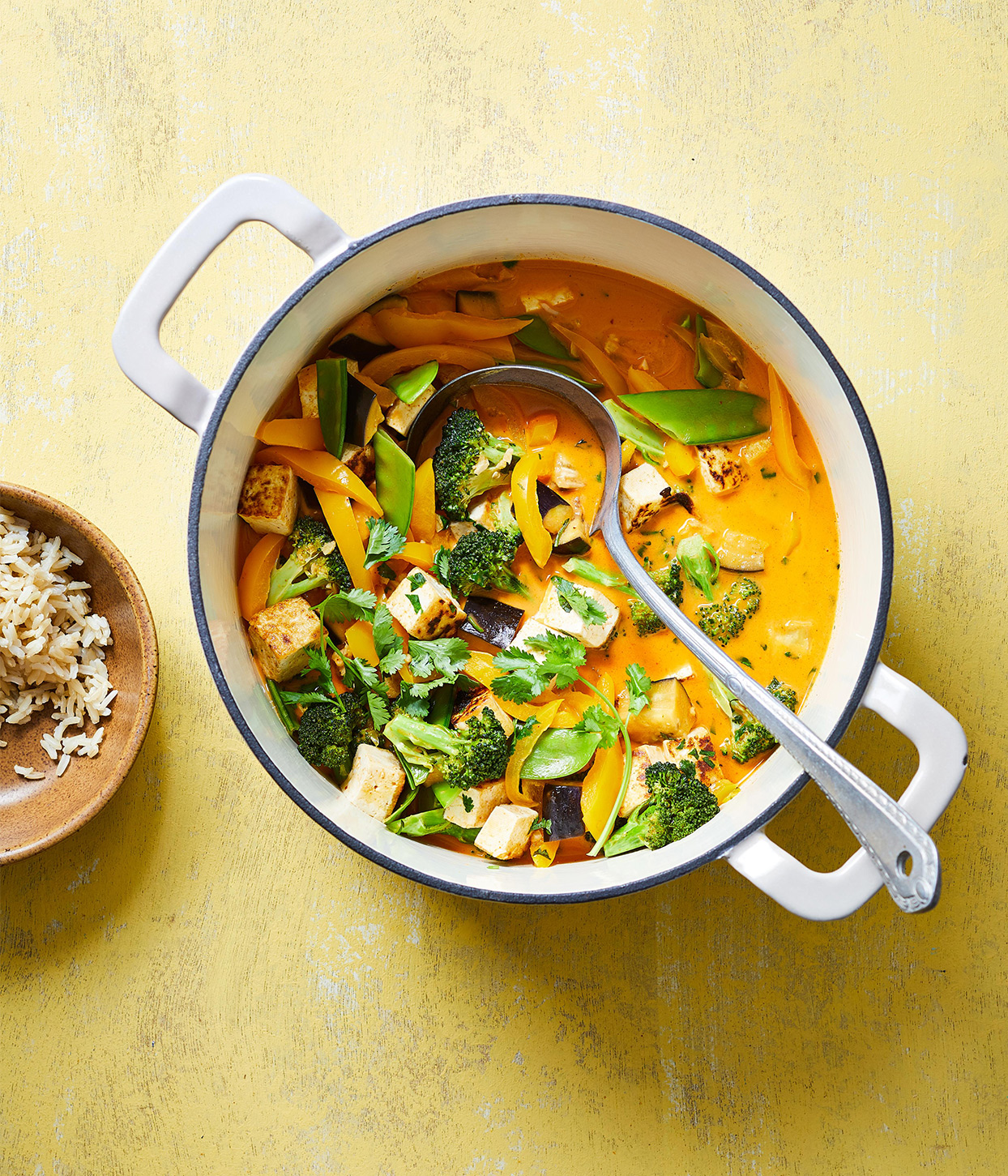 large enamel pot with Thai curry