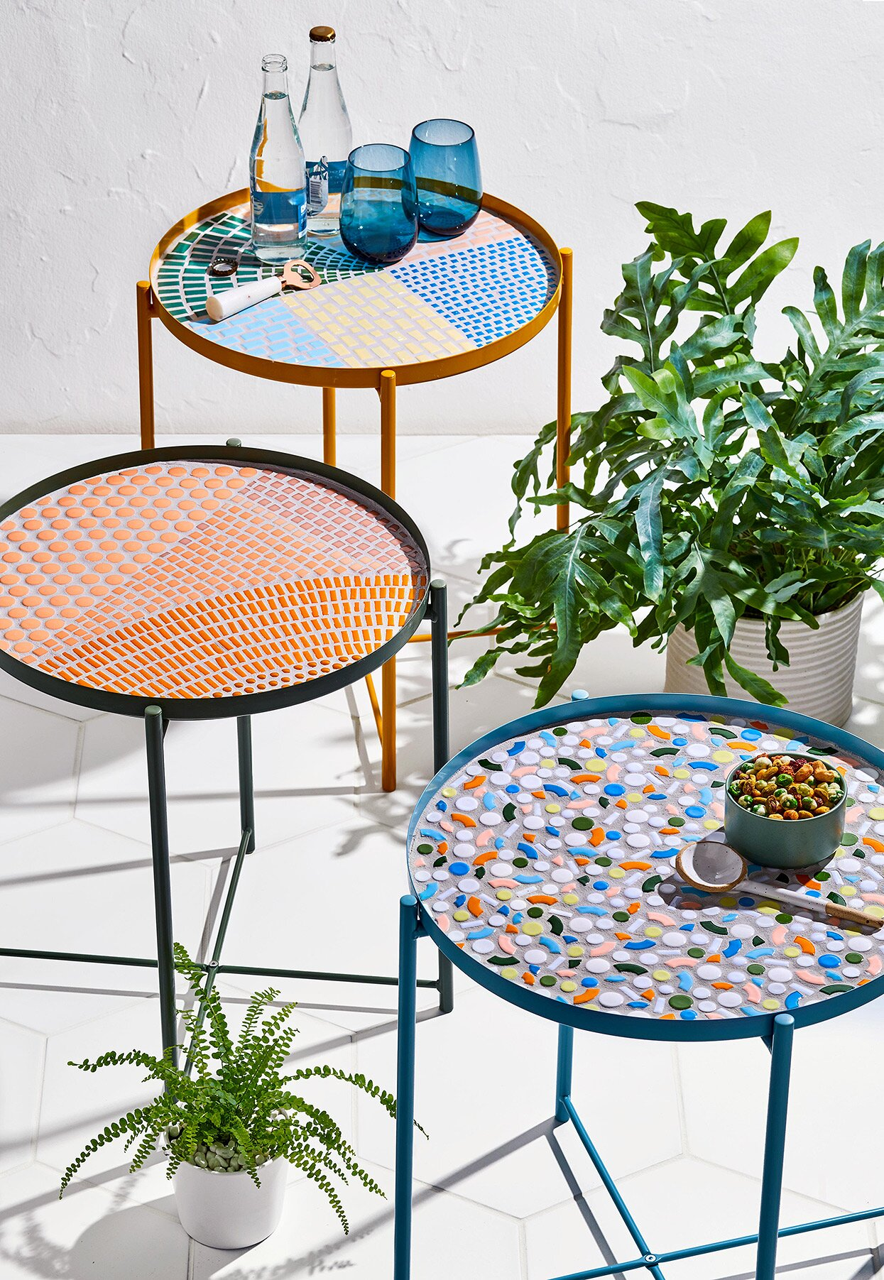 diy finished mosaic tile table tops