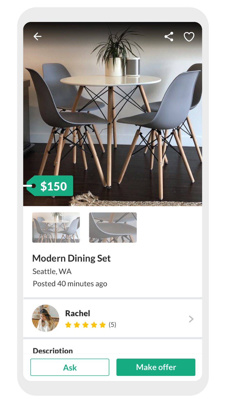 phone screen showing dining set for sale