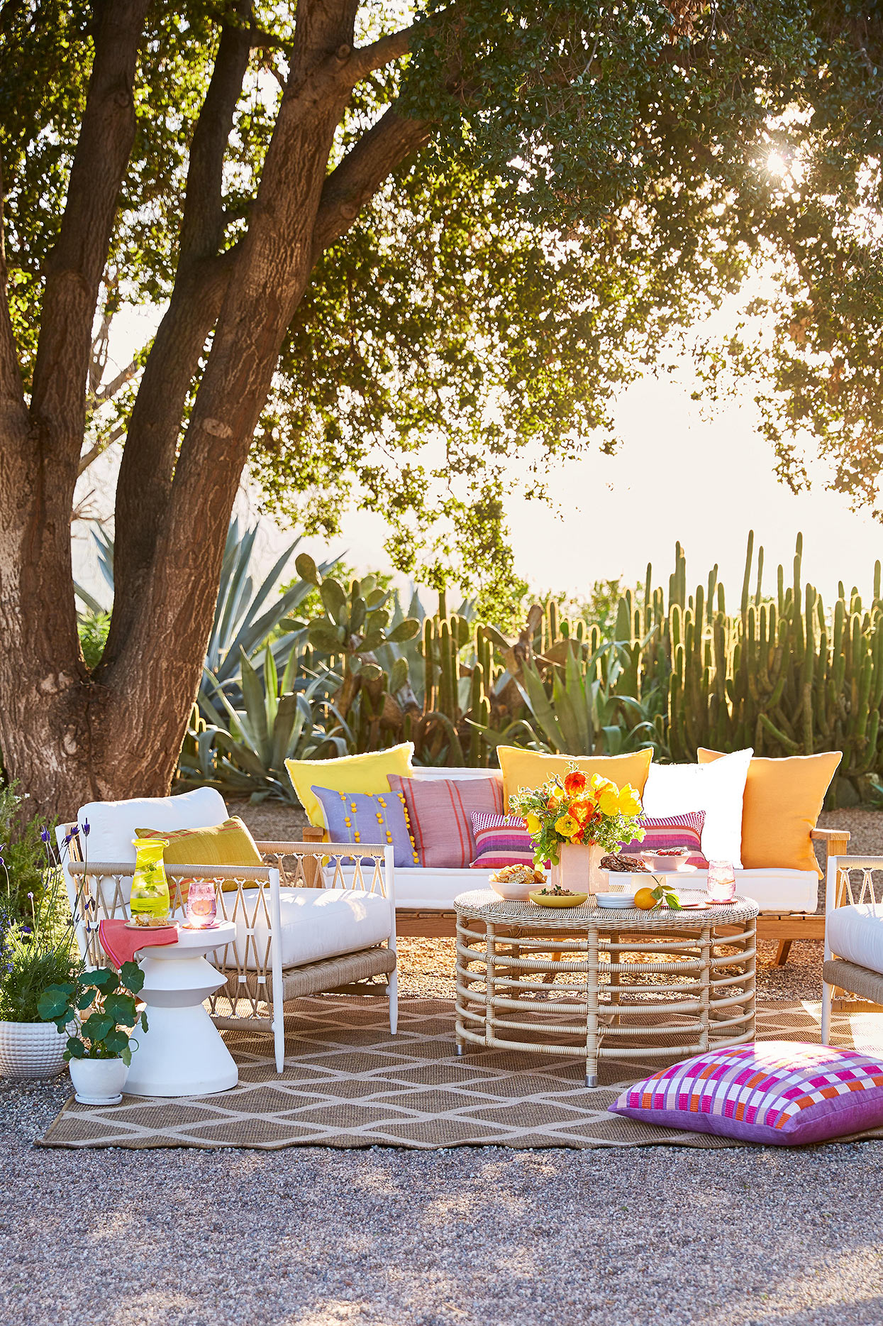boho outdoor seating with bright pops of color
