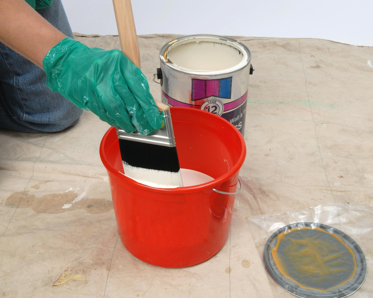 white paint in bucket