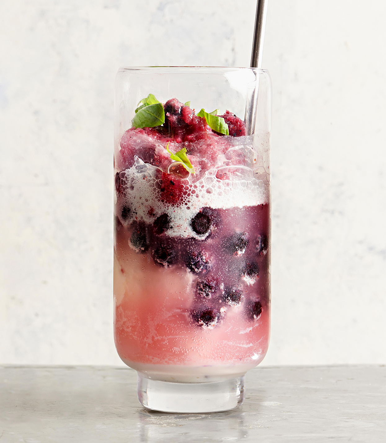 Sparkling Rose Blueberry Floats