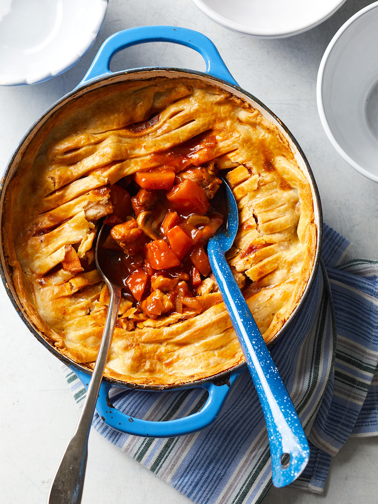 Barbecue Chicken Pot Pie in blue pot with spoon