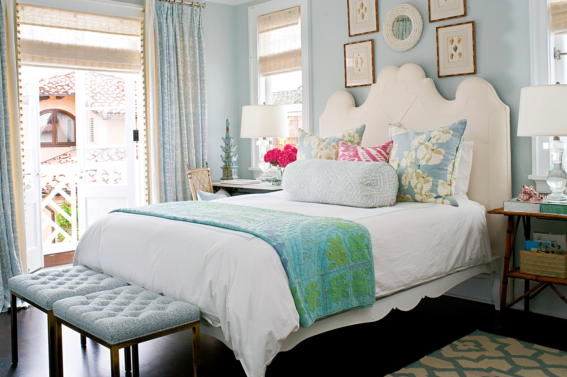 bright bedroom with white, blue and green color scheme