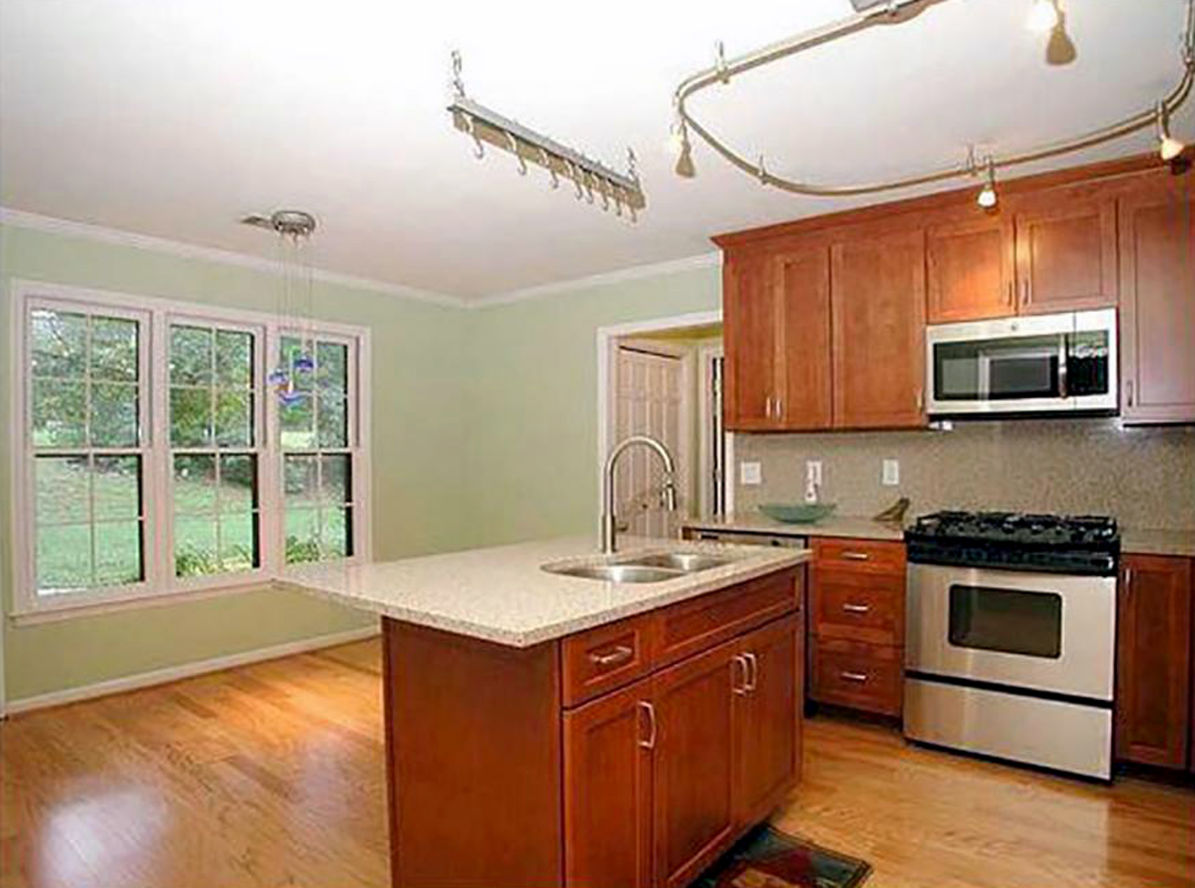 vintage contemporary kitchen before window view