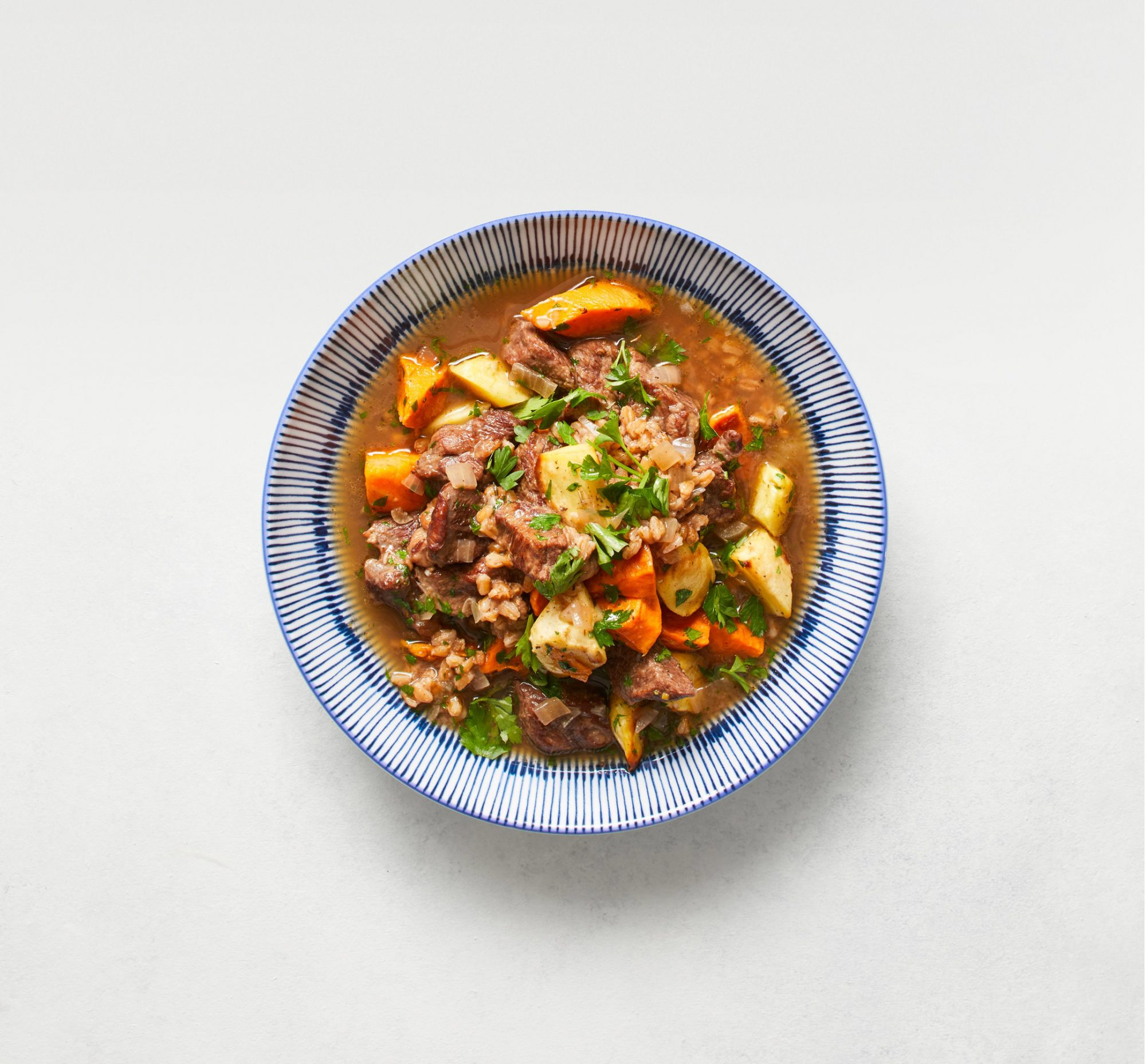 Farro and Beef Stew with Roasted Vegetables
