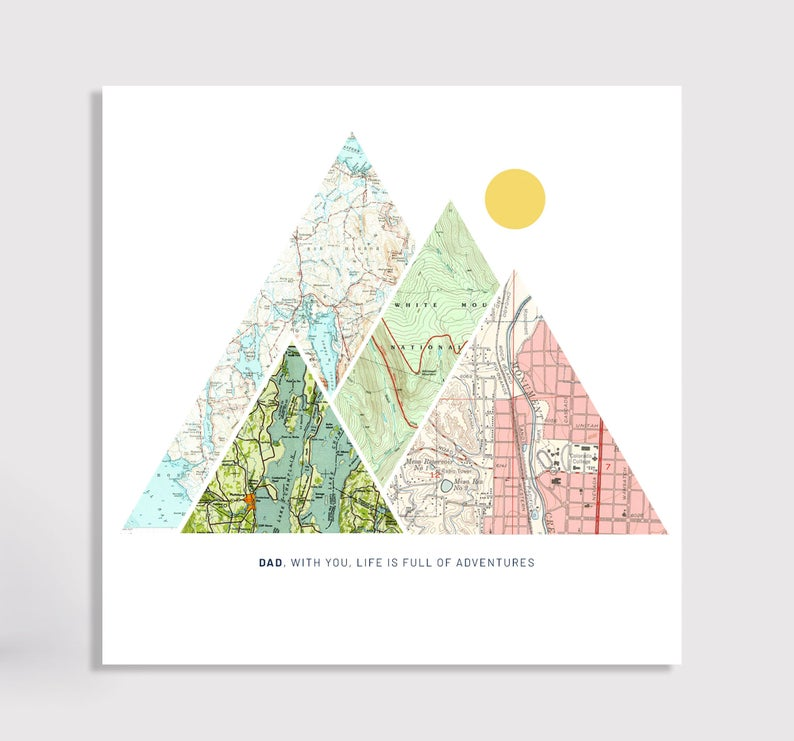 white canvas art print with triangle maps
