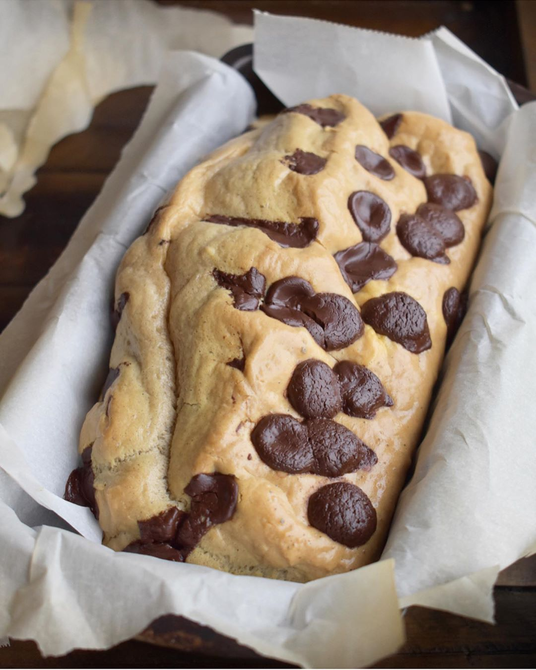 cookie dough bread in pan with chocolate chips