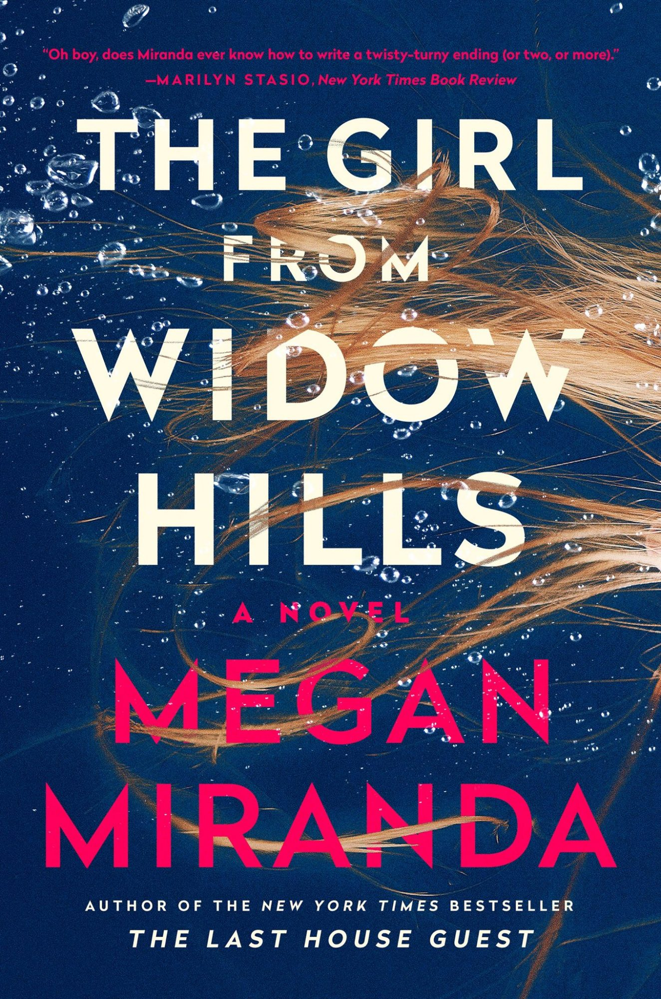 dark blue book cover with the girl from widow hills in white text