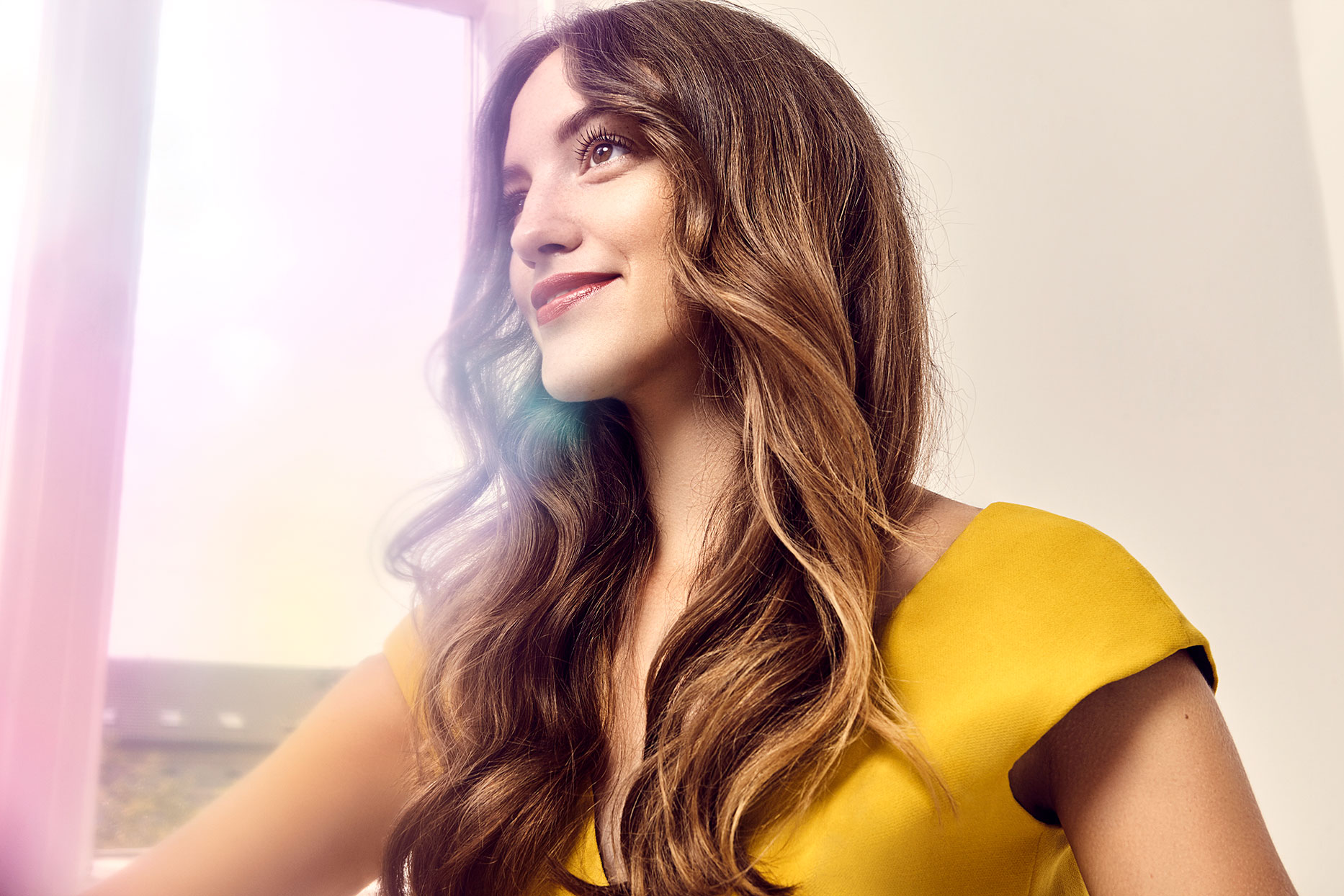 woman with shiny hair