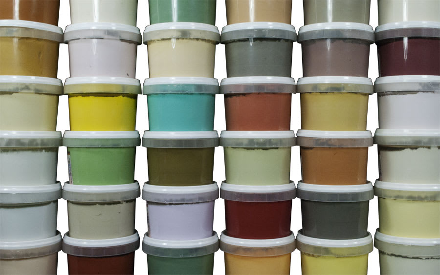 containers of paint in different colors