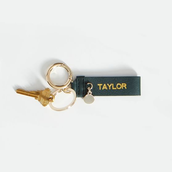 leather key ring stamped with 'taylor'
