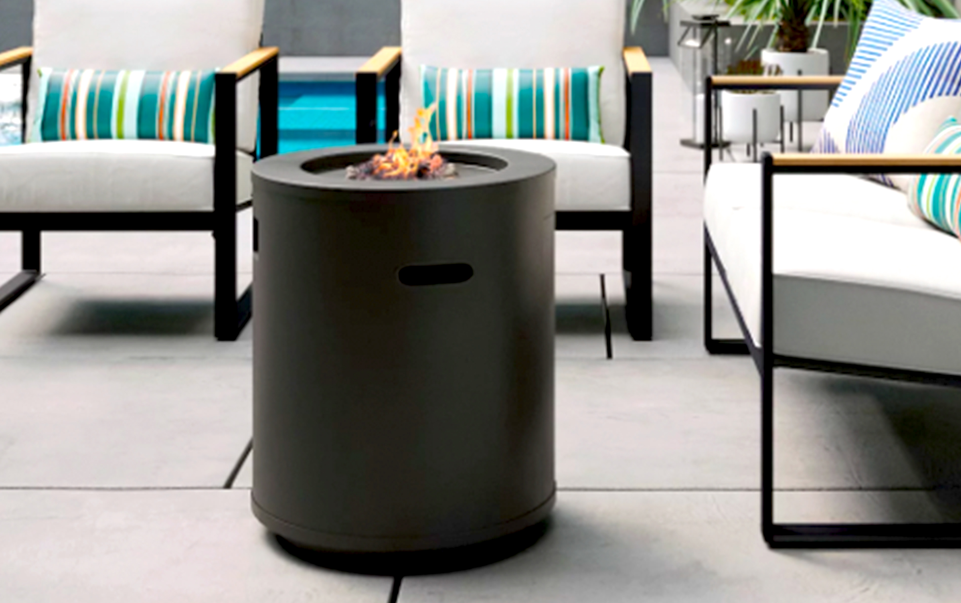 portable fire pit with outdoor furniture