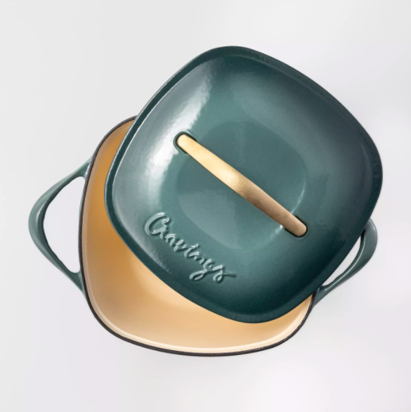 teal and gold dutch oven