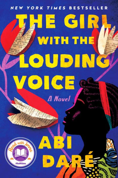 blue, red, and yellow book cover of the girl with the louding voice