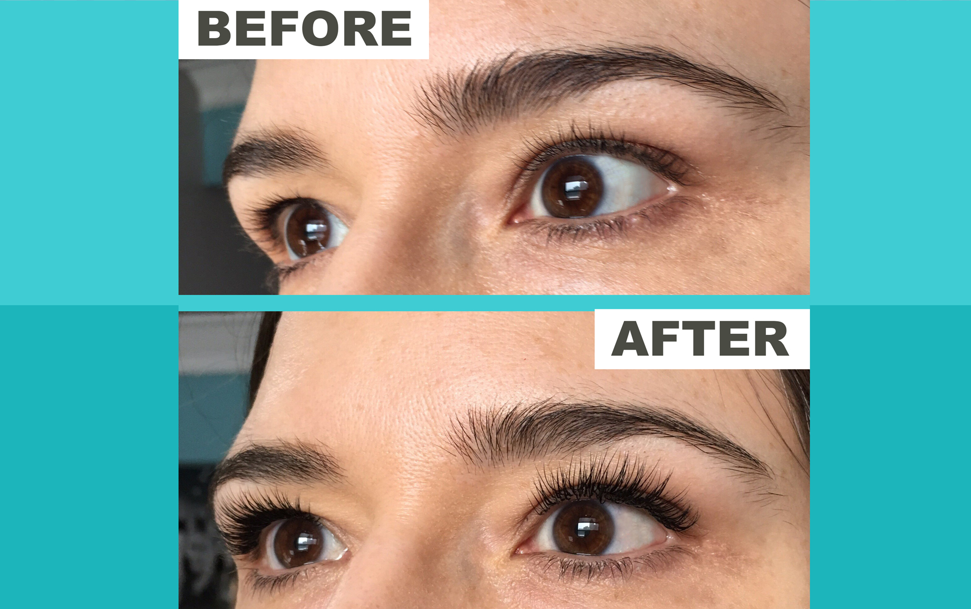 before and after photo of lashes with extensions