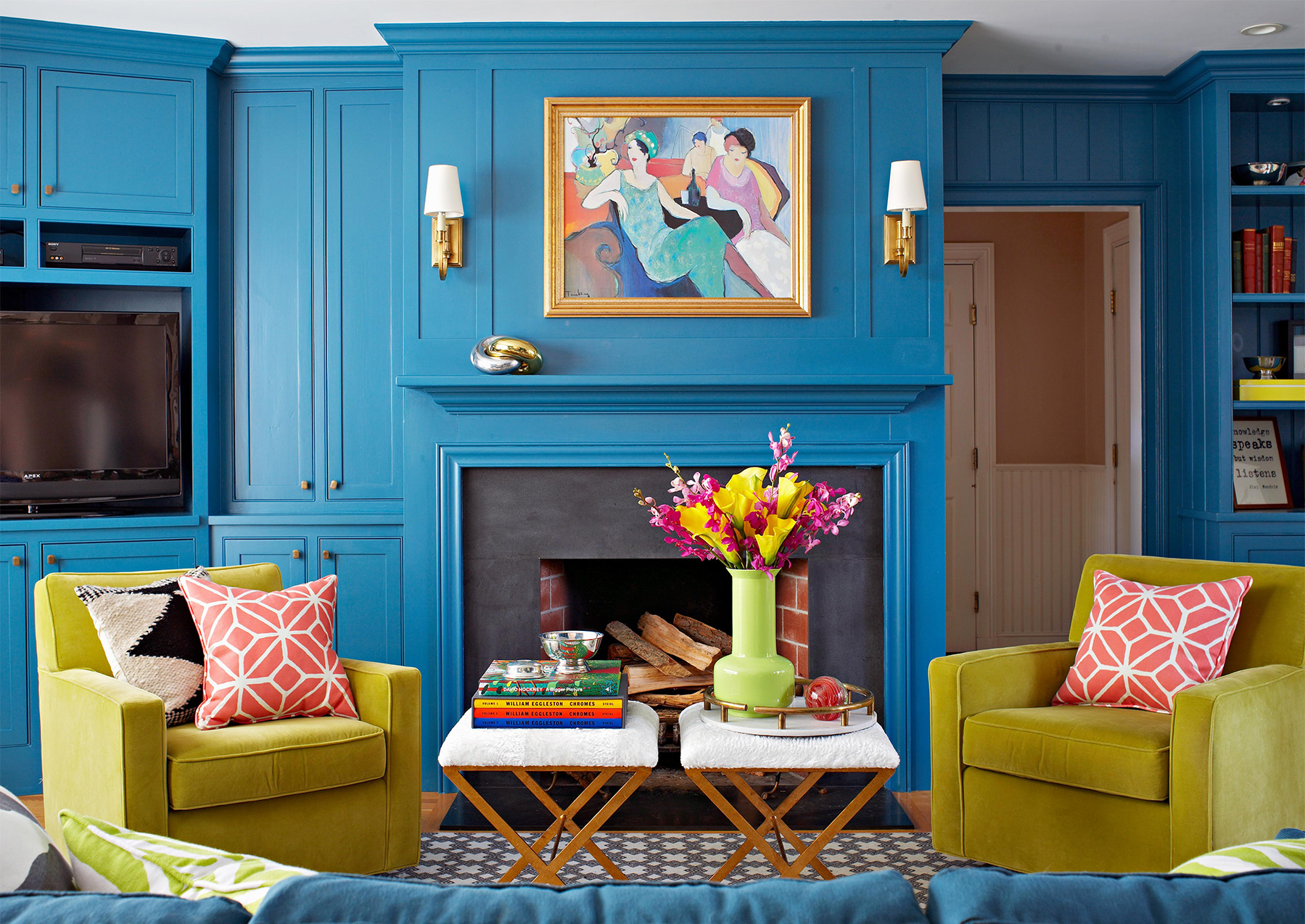 blue mantel and living room