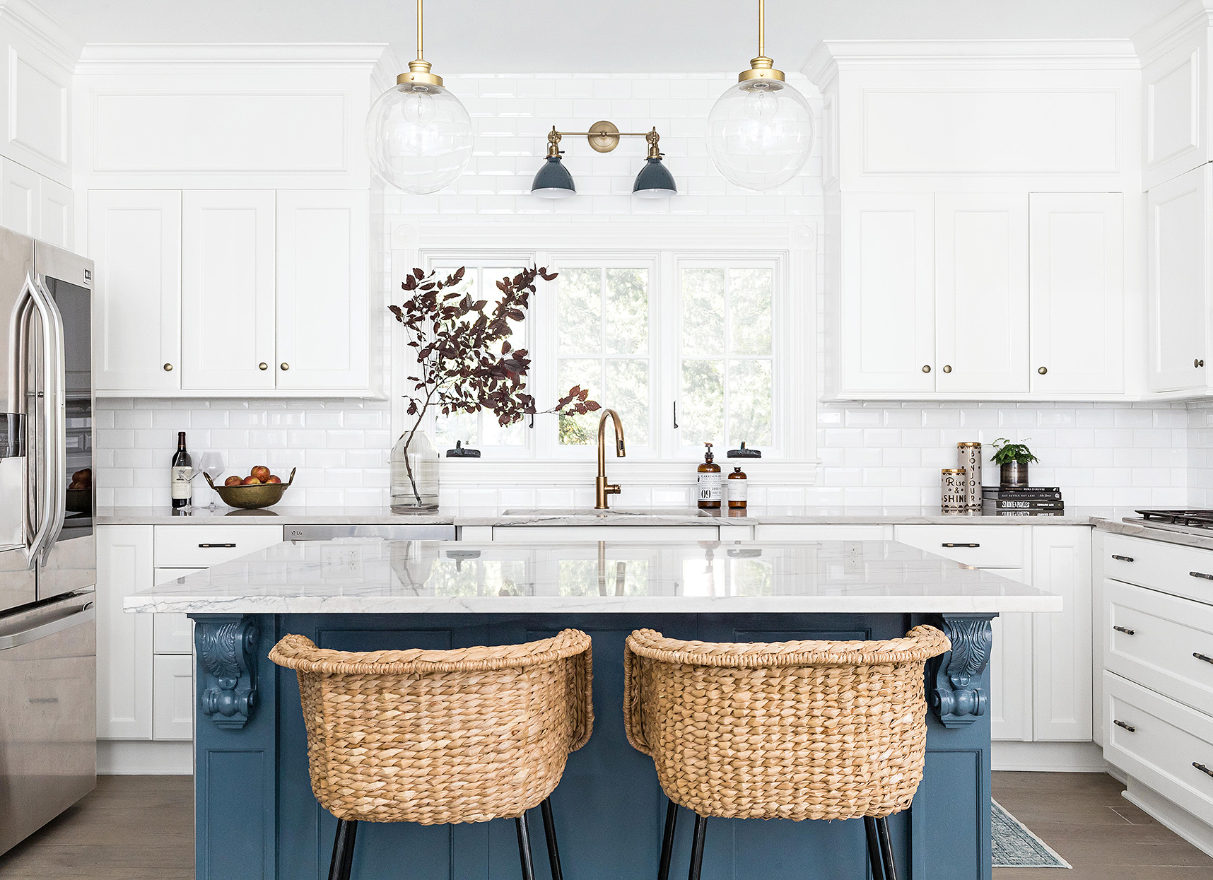 nautical blue kitchen island and seagrass stools