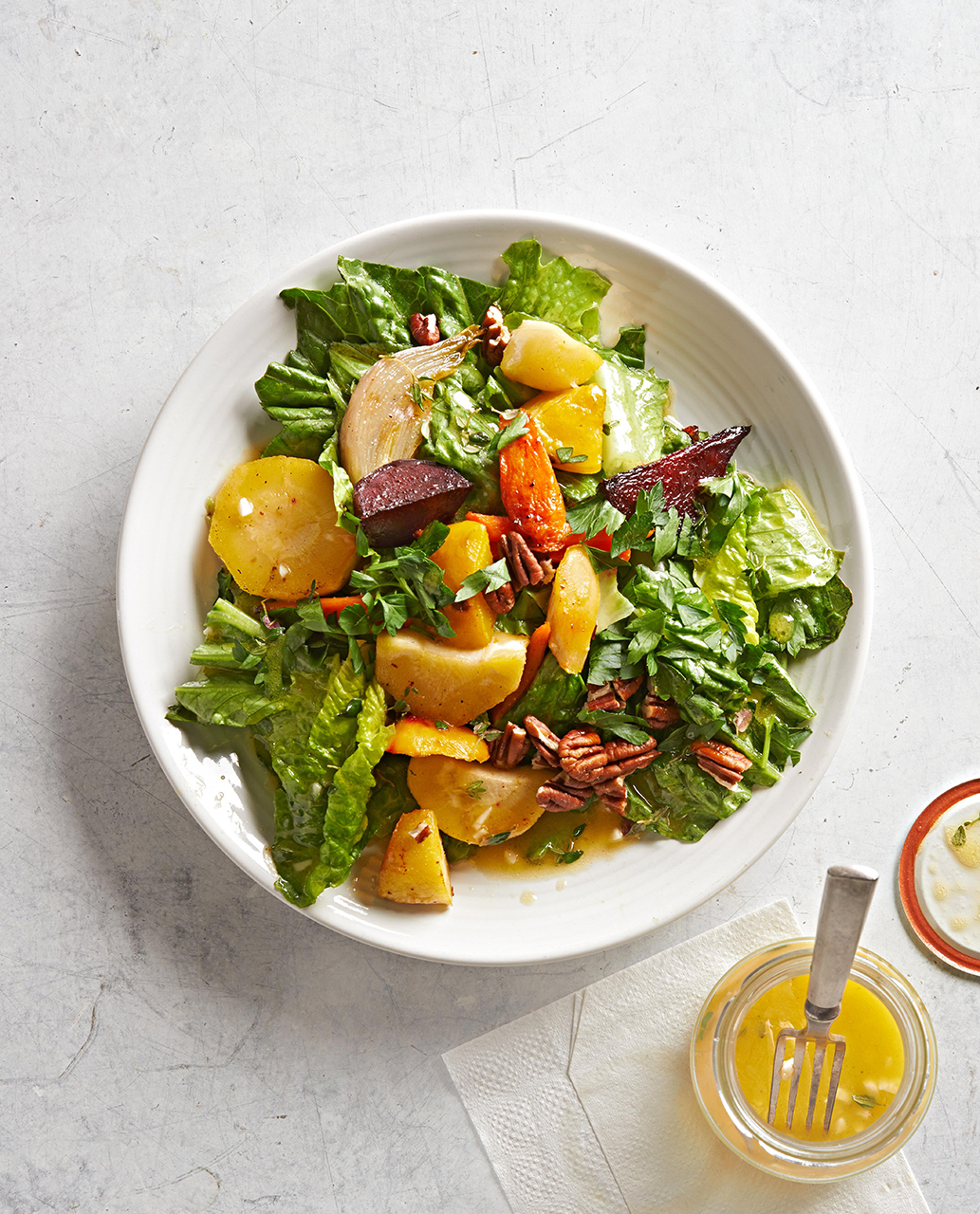 Roasted Root Vegetable and Wilted Romaine Salad