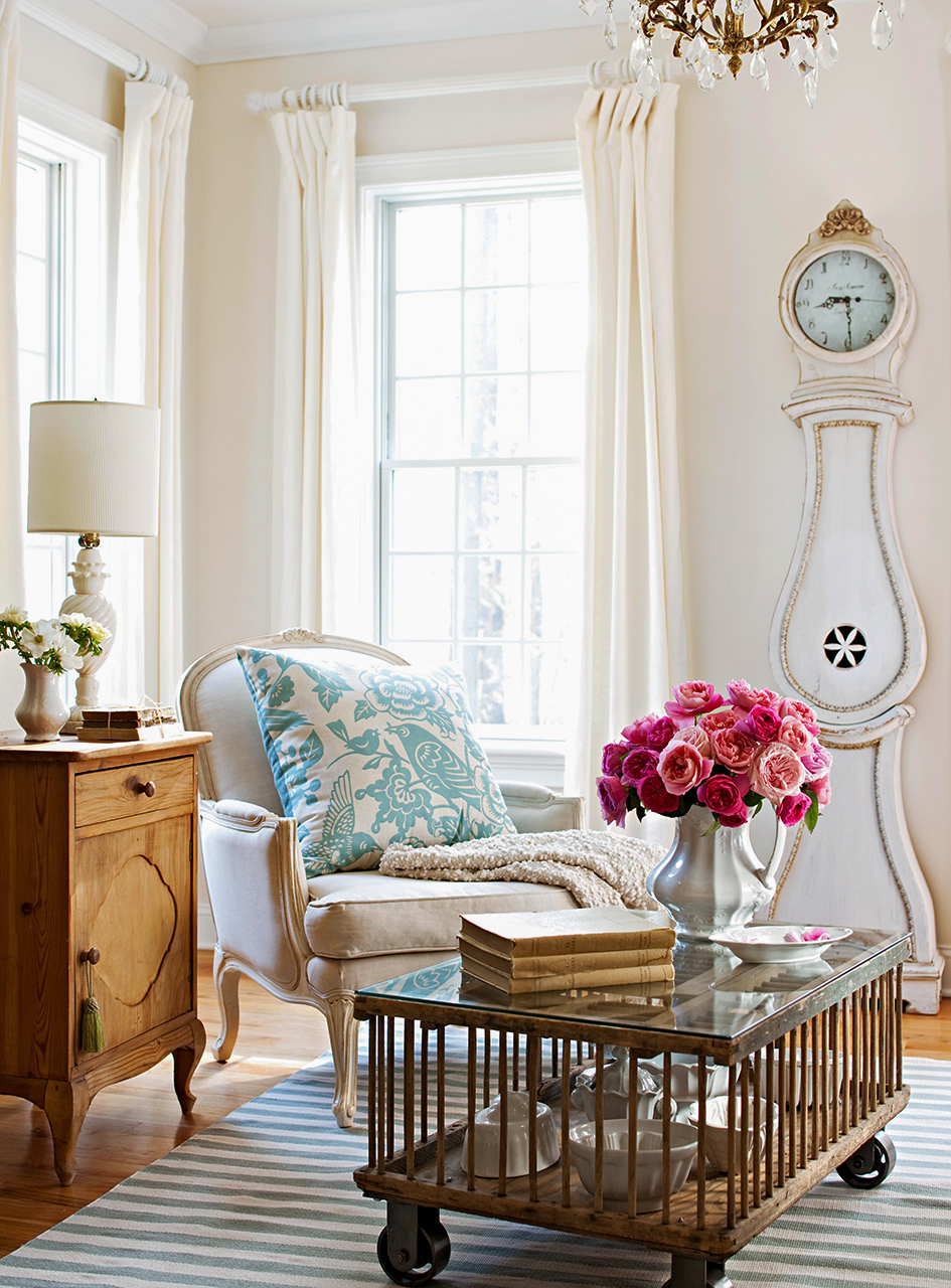 Eclectic style room grandfather clock