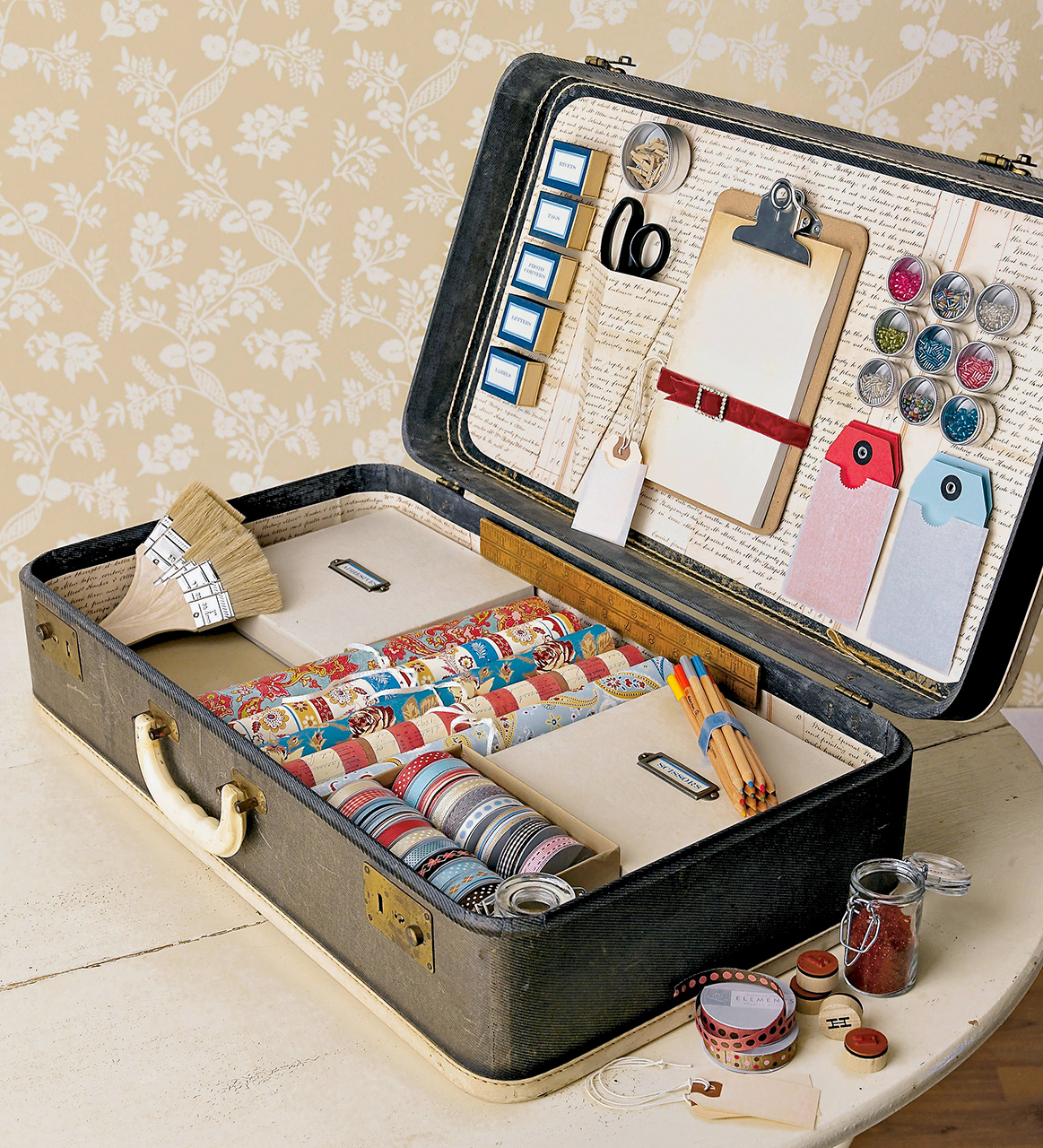suitcase ribbon button collection